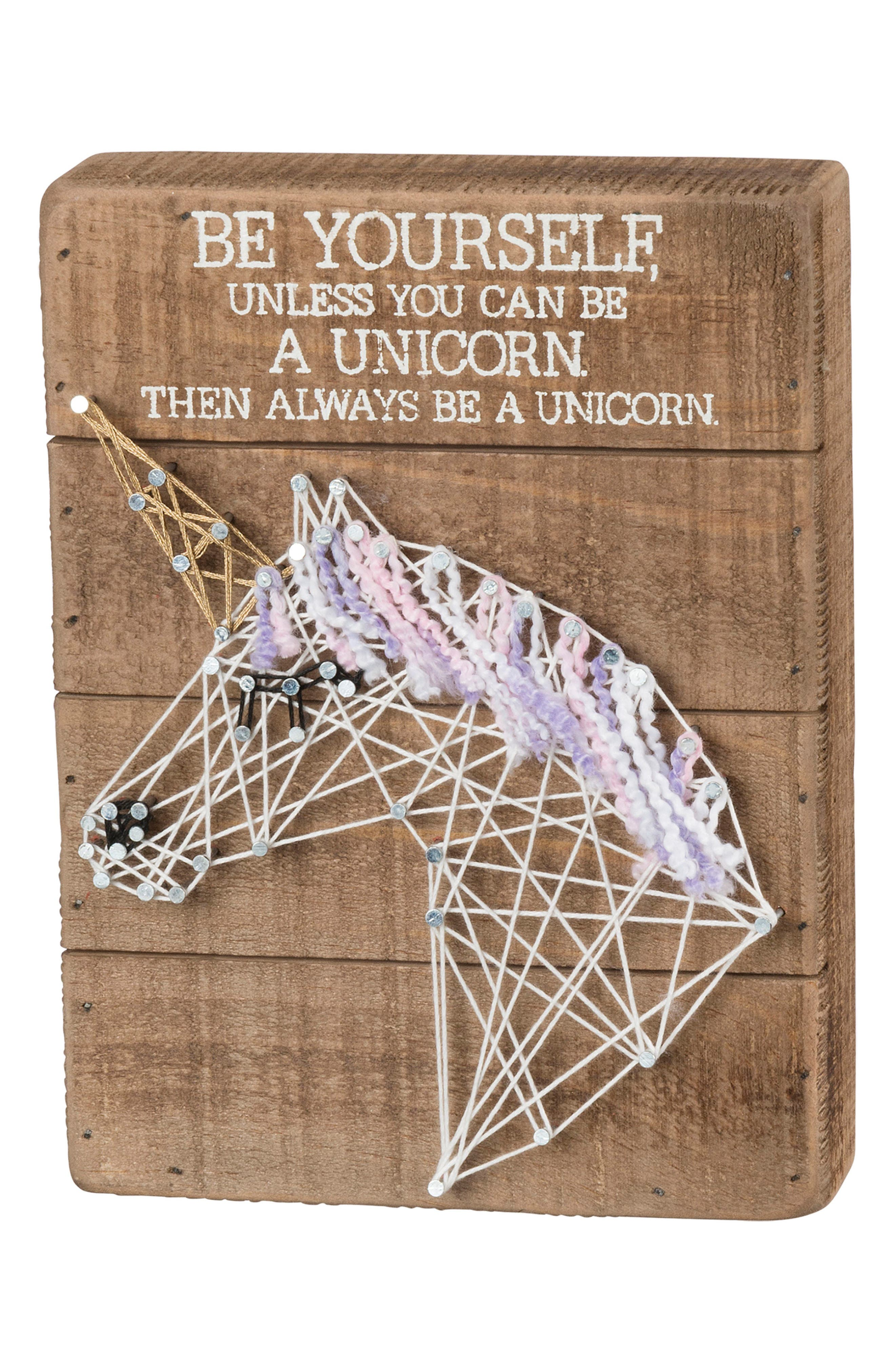 Unicorn String Art Box Sign,                             Main thumbnail 1, color,                             Brown
