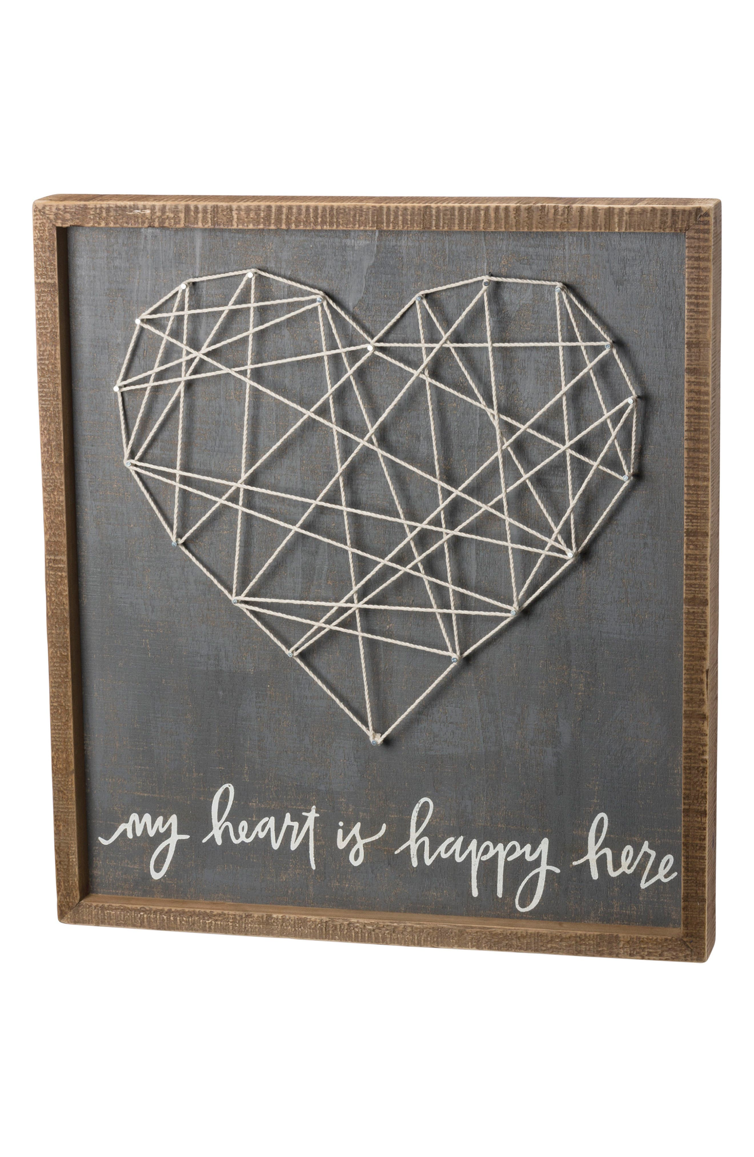 My Heart Is Happy String Art Box Sign,                         Main,                         color, Grey