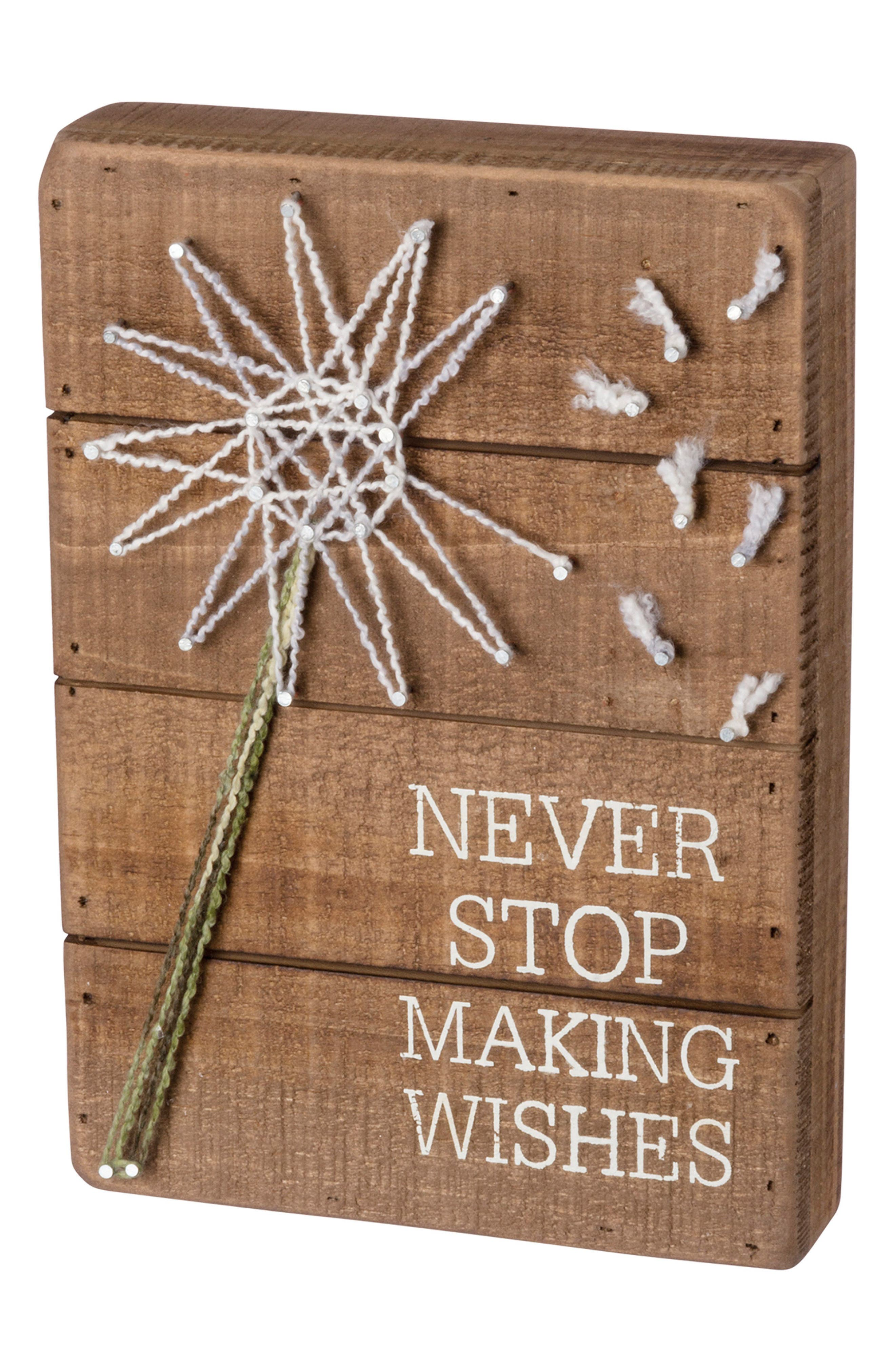Wishes String Art Box Sign,                         Main,                         color, Brown