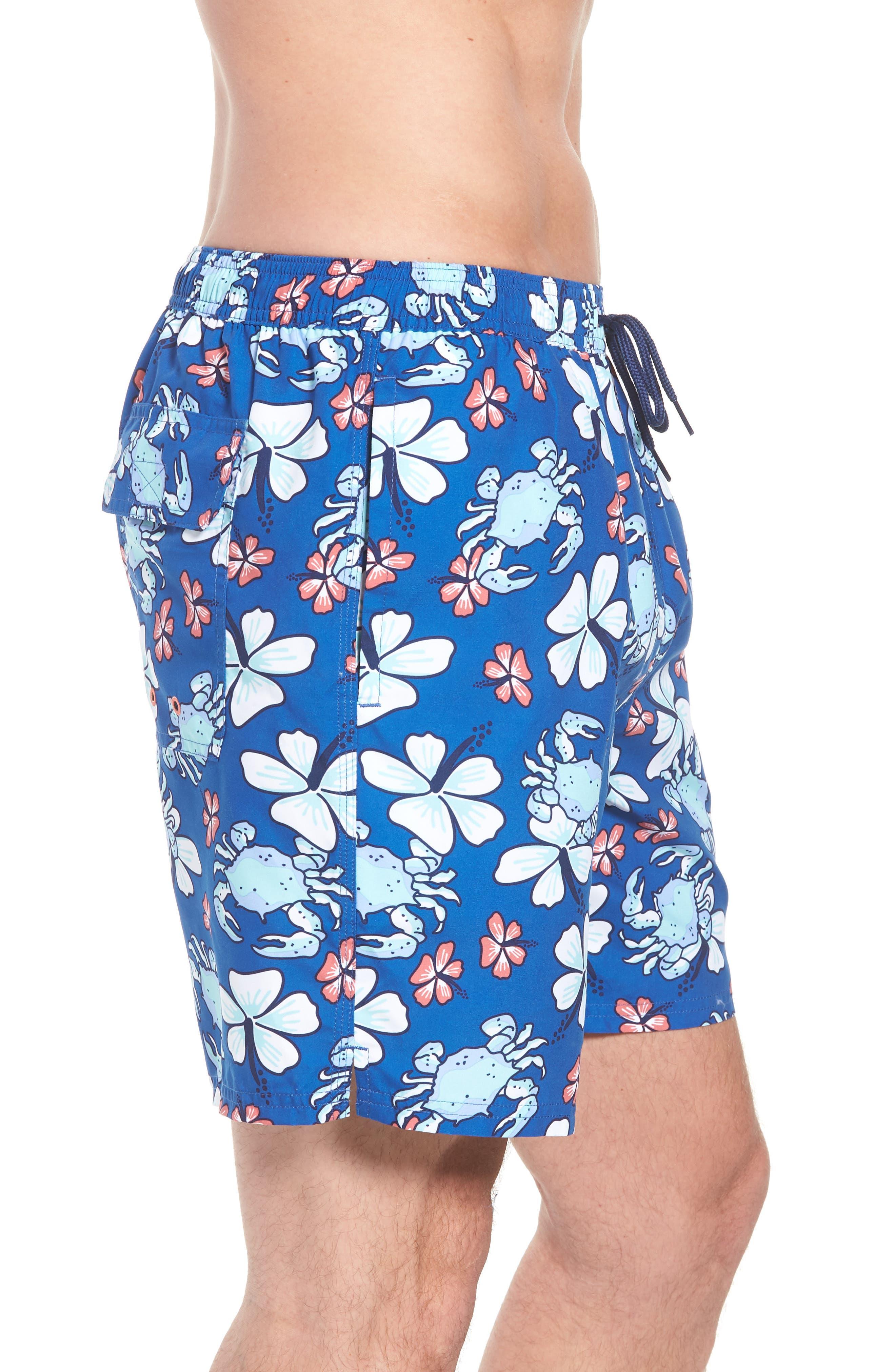 Chappy Crab Floral Swim Trunks,                             Alternate thumbnail 3, color,                             Yacht Blue