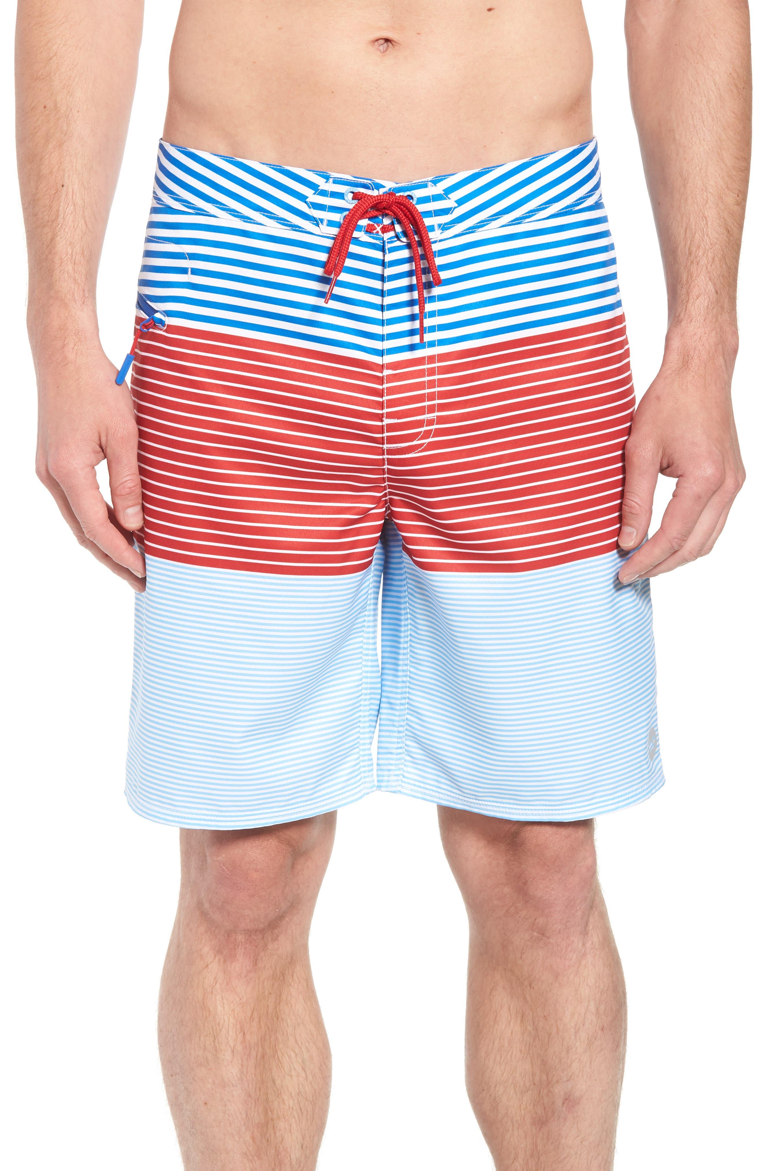 Whale Harbor Stripe Board Shorts,                         Main,                         color, Spinnaker