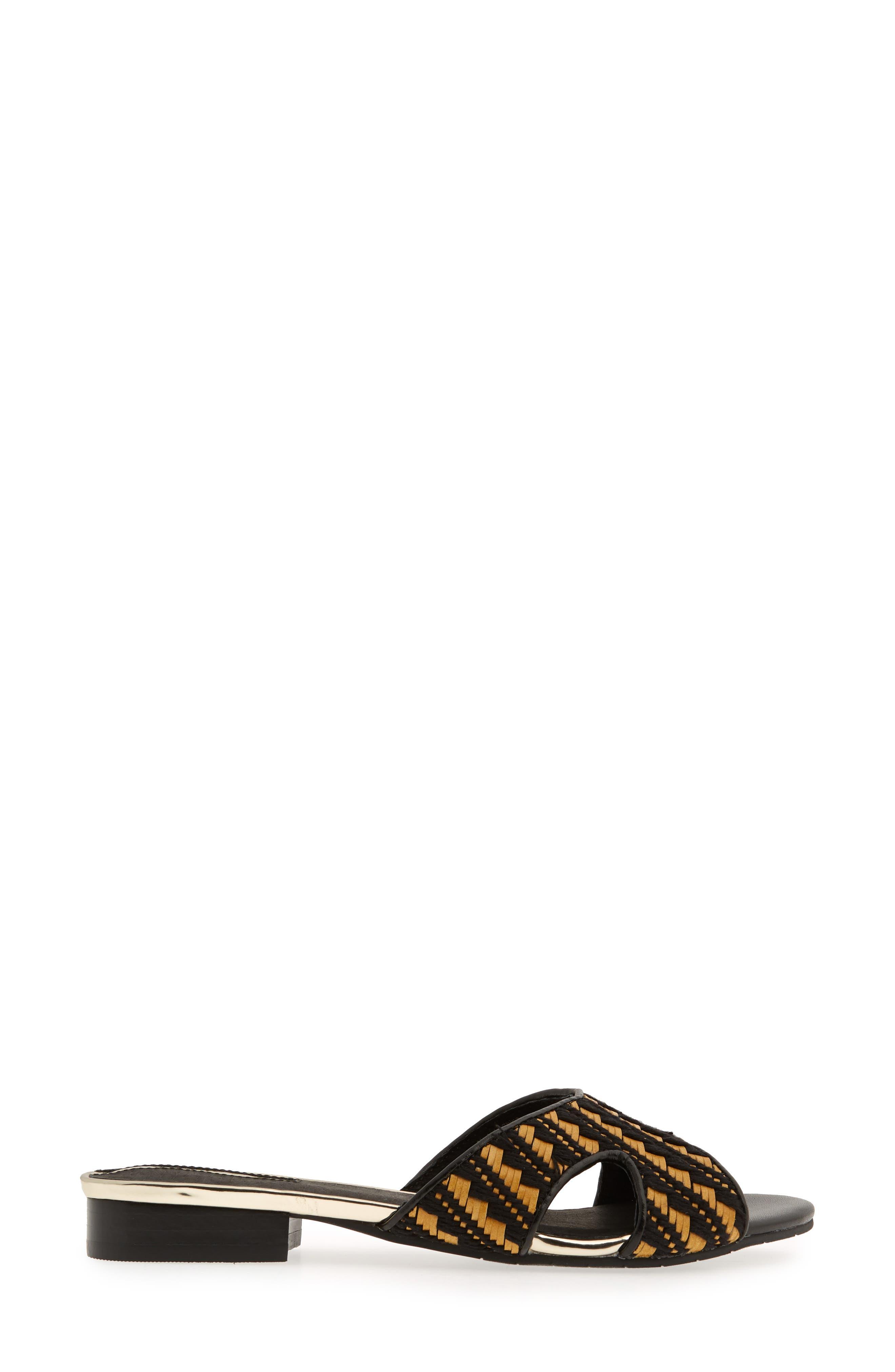 Viveca 2 Slide Sandal,                             Alternate thumbnail 3, color,                             Black/ Natural Fabric