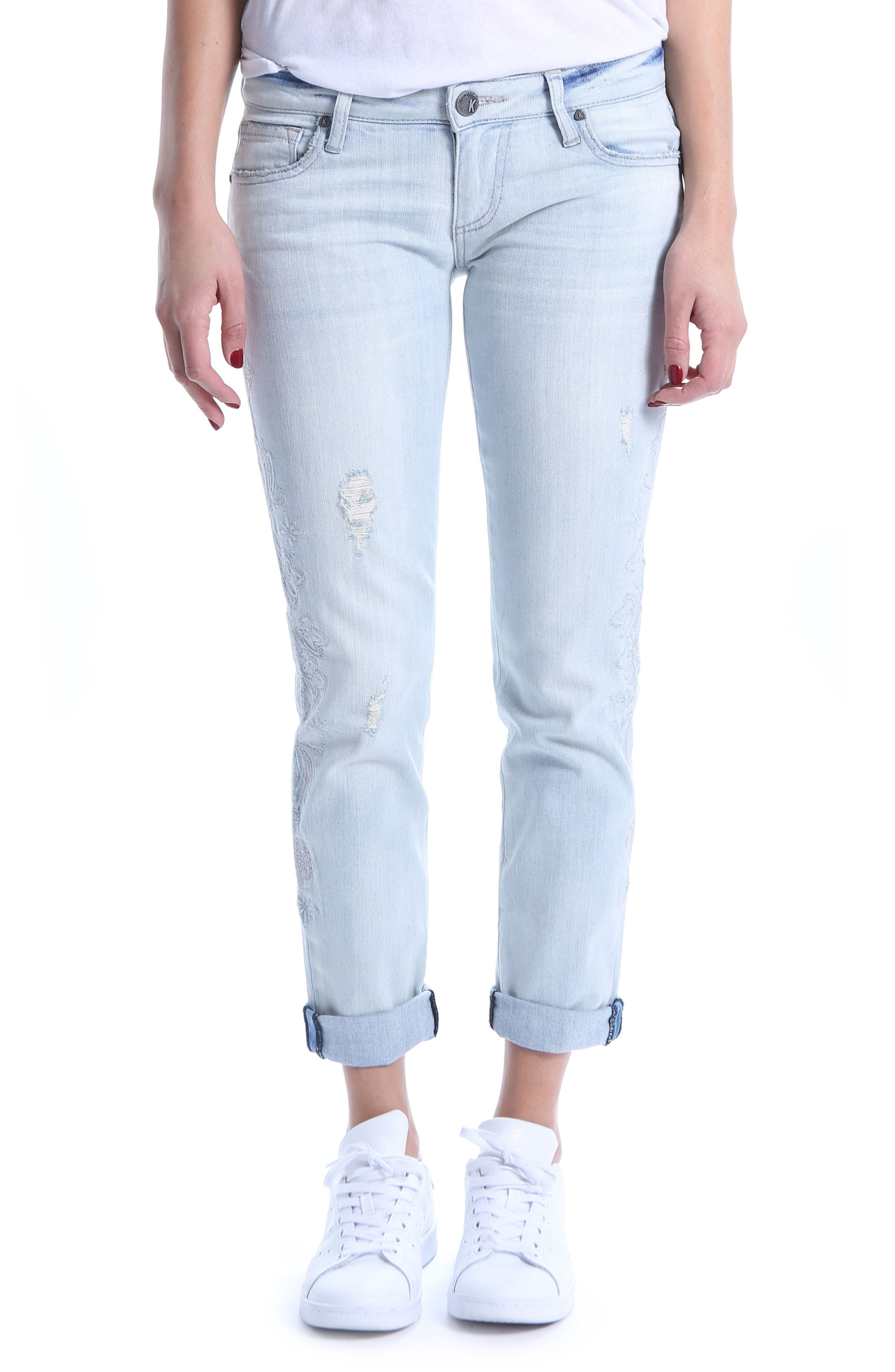 KUT from the Kloth Catherine Embroidered & Ripped Boyfriend Jeans,                             Main thumbnail 1, color,                             Fortified