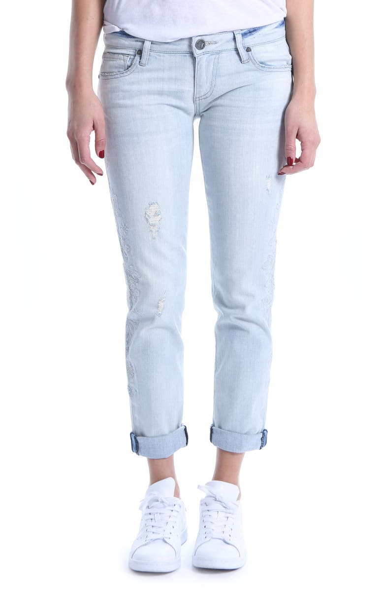 KUT from the Kloth Catherine Embroidered & Ripped Boyfriend Jeans