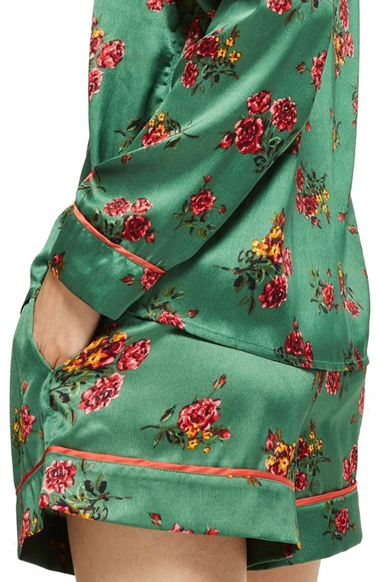 Floral Print Pajama Shorts,                             Alternate thumbnail 2, color,                             Bright Green Multi