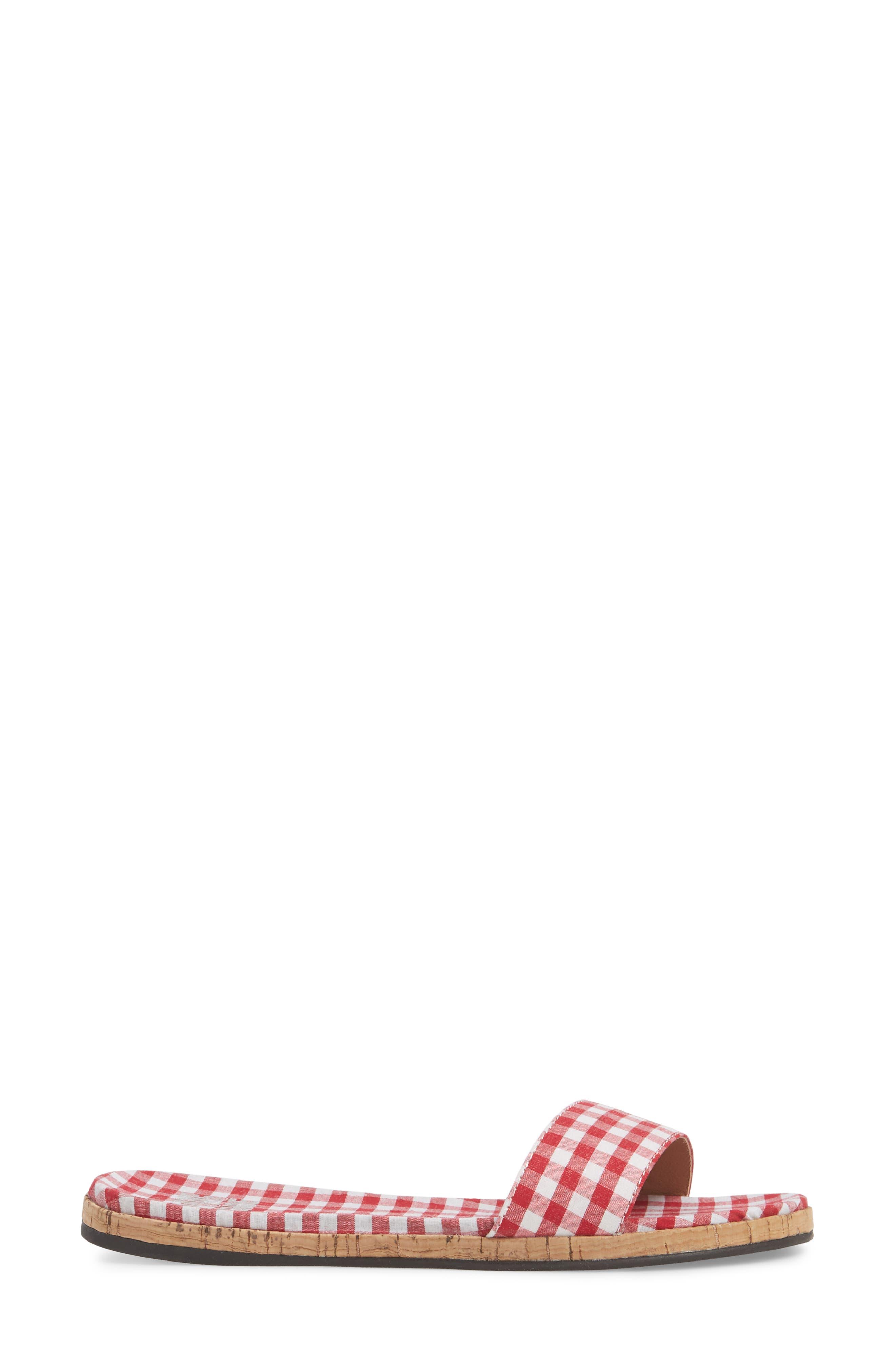 Jill Thin Band Slide Sandal,                             Alternate thumbnail 3, color,                             Red Gingham