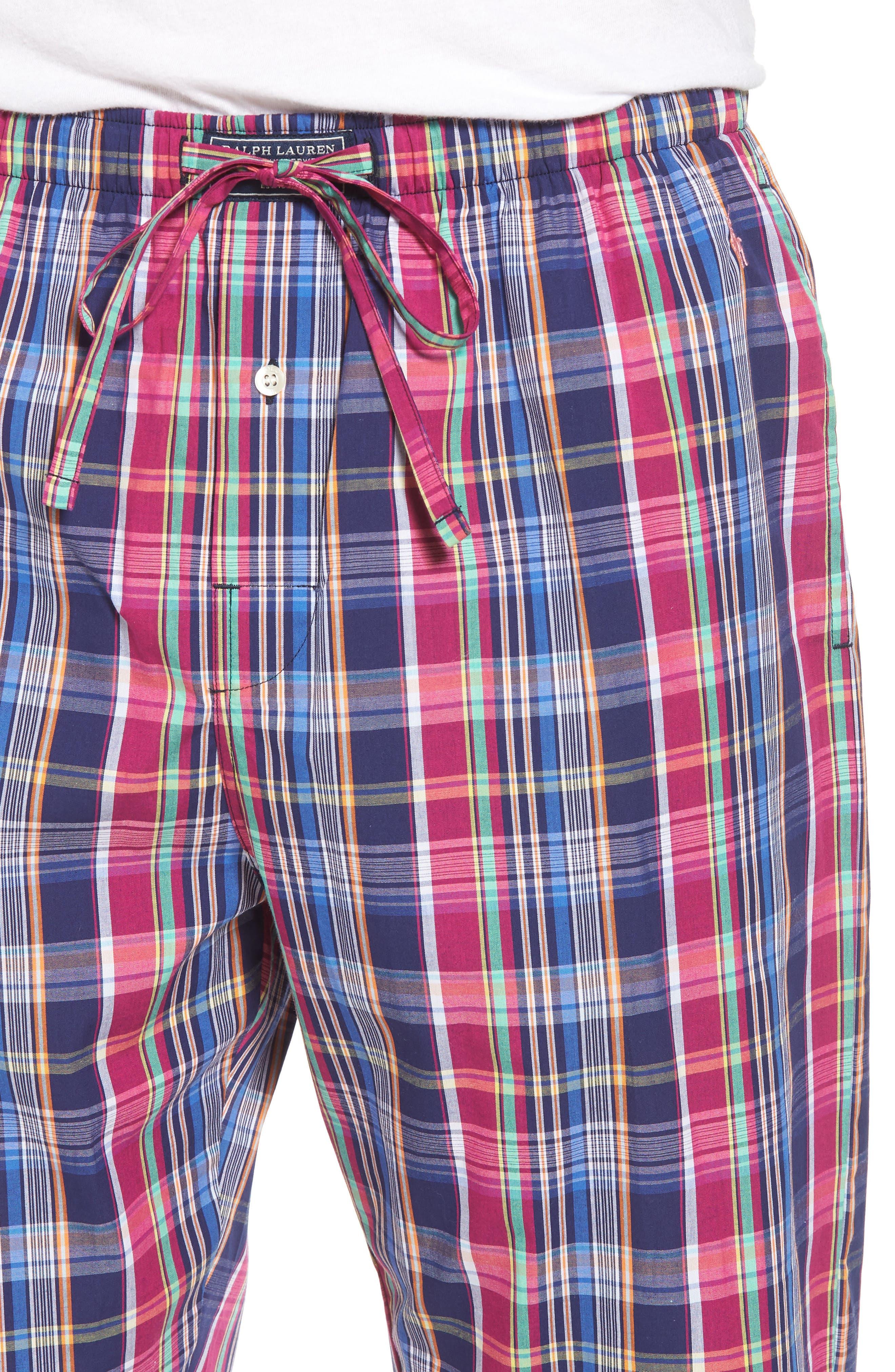 Cotton Lounge Pants,                             Alternate thumbnail 3, color,                             Collins Plaid