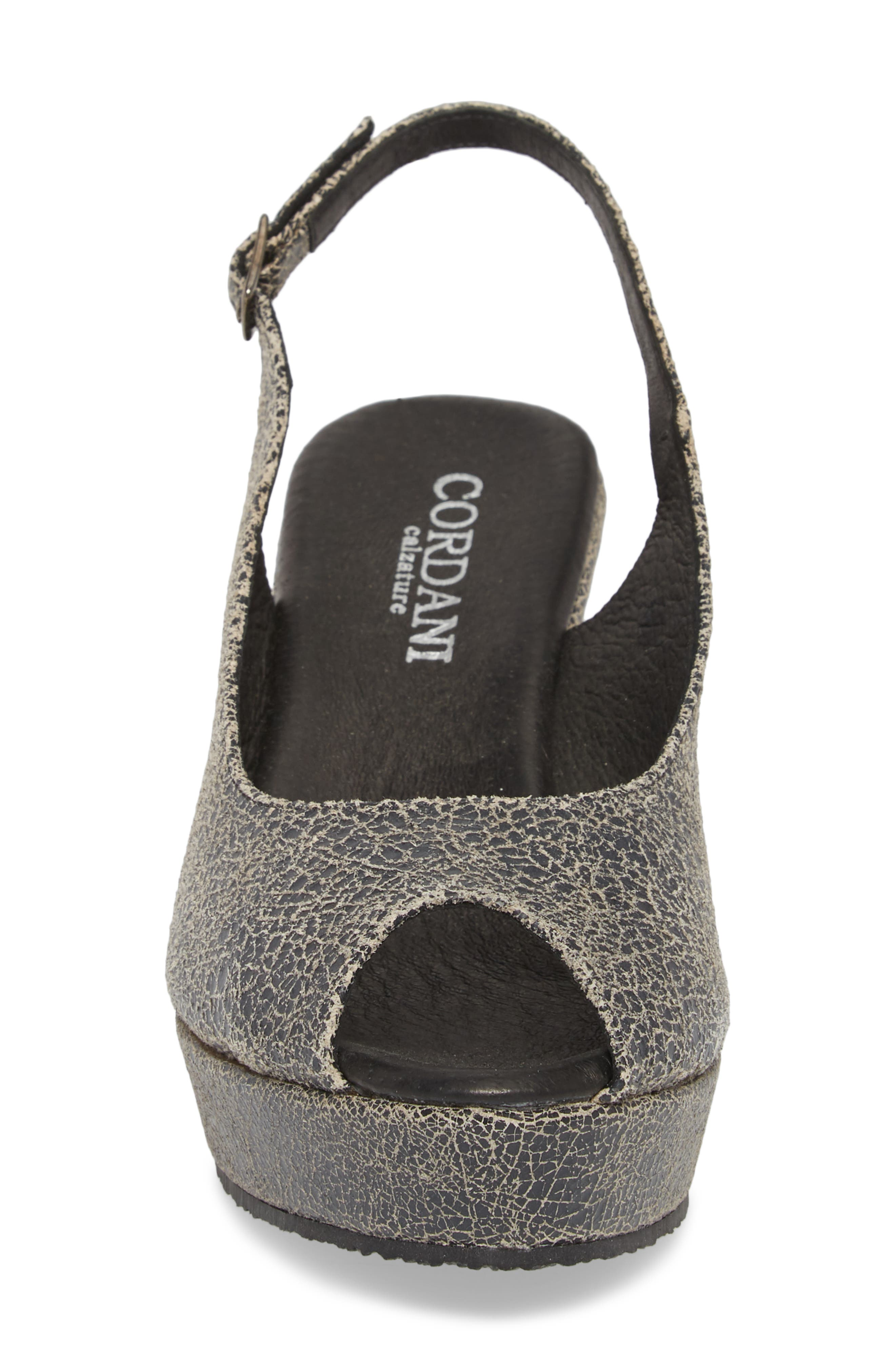 Fabrice Slingback Platform Sandal,                             Alternate thumbnail 4, color,                             Grey Crackle Leather
