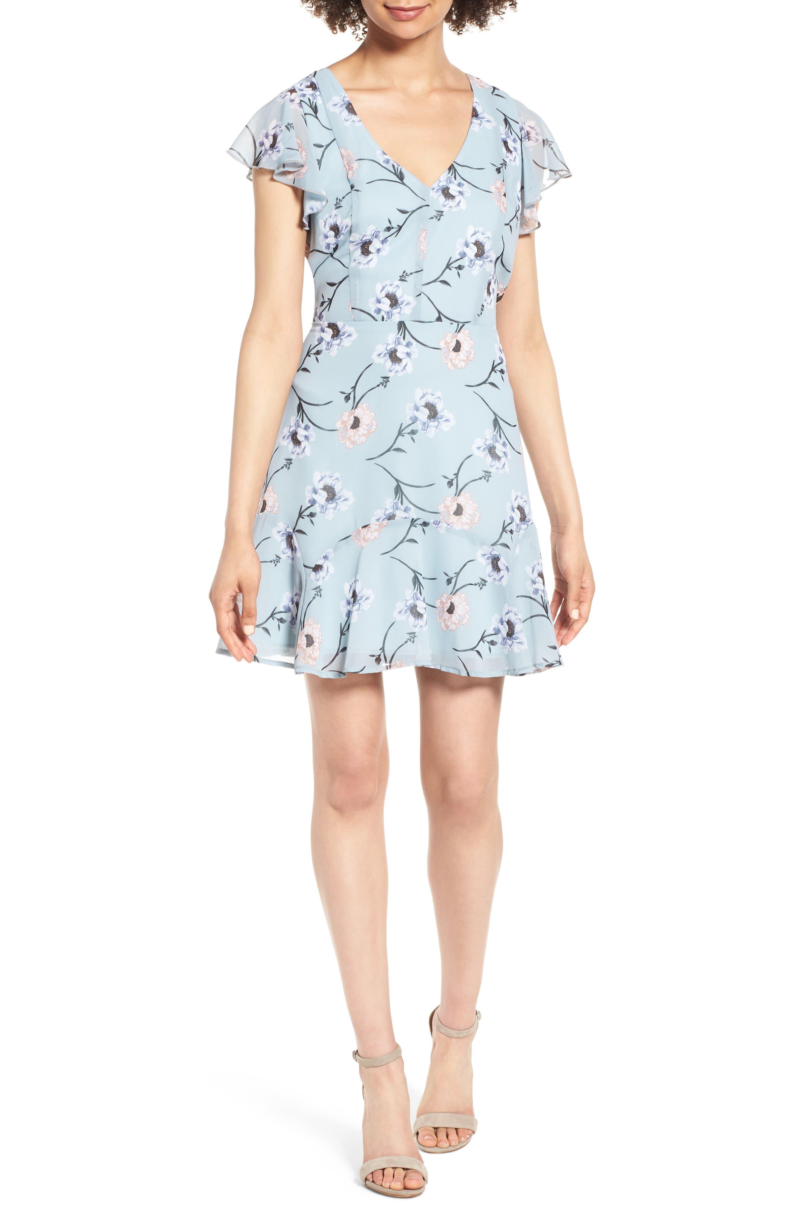 Flutter Sleeve Minidress,                             Main thumbnail 1, color,                             Chambray