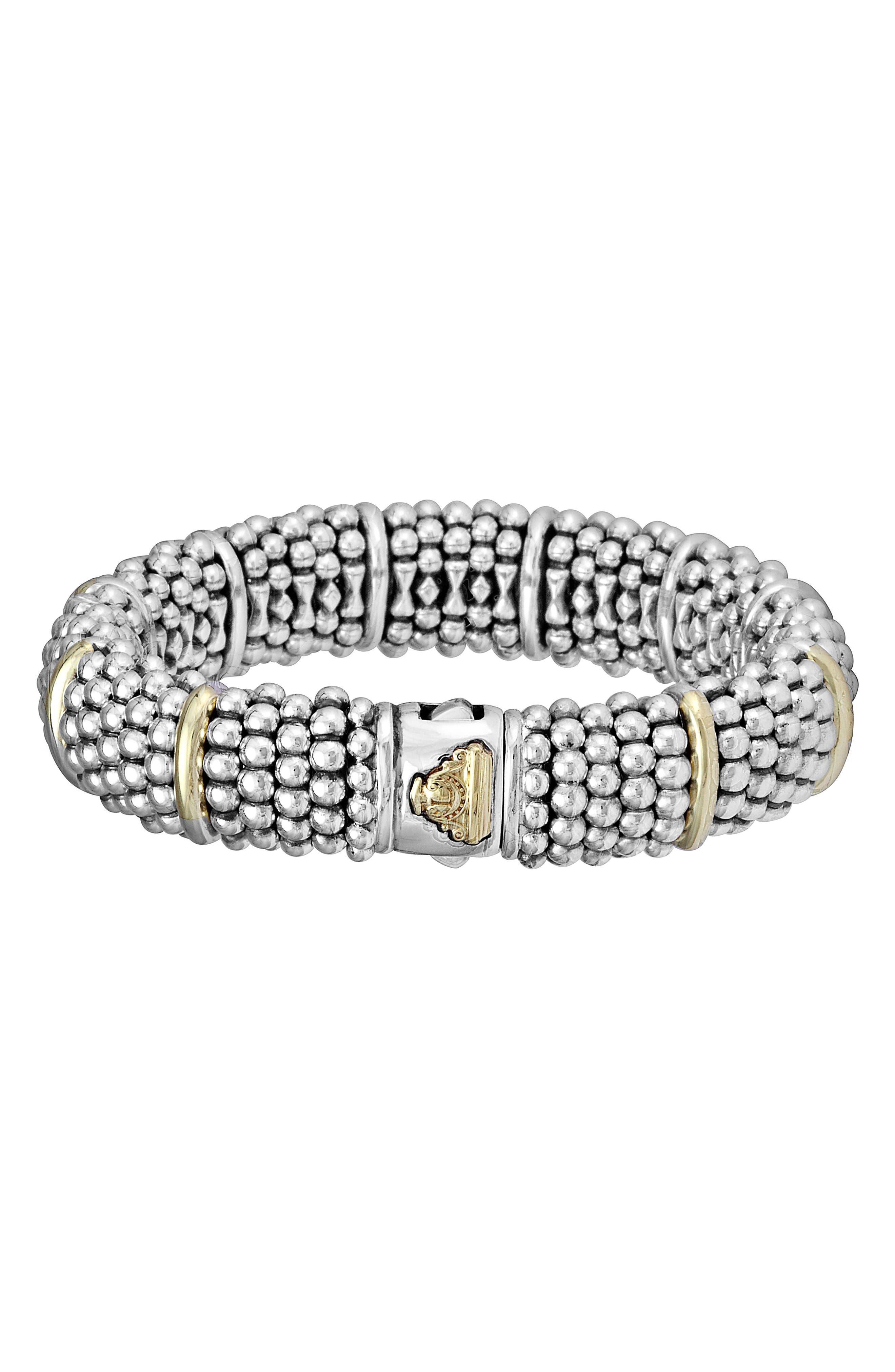 Oval Caviar Bracelet,                             Alternate thumbnail 4, color,                             Silver/ Gold