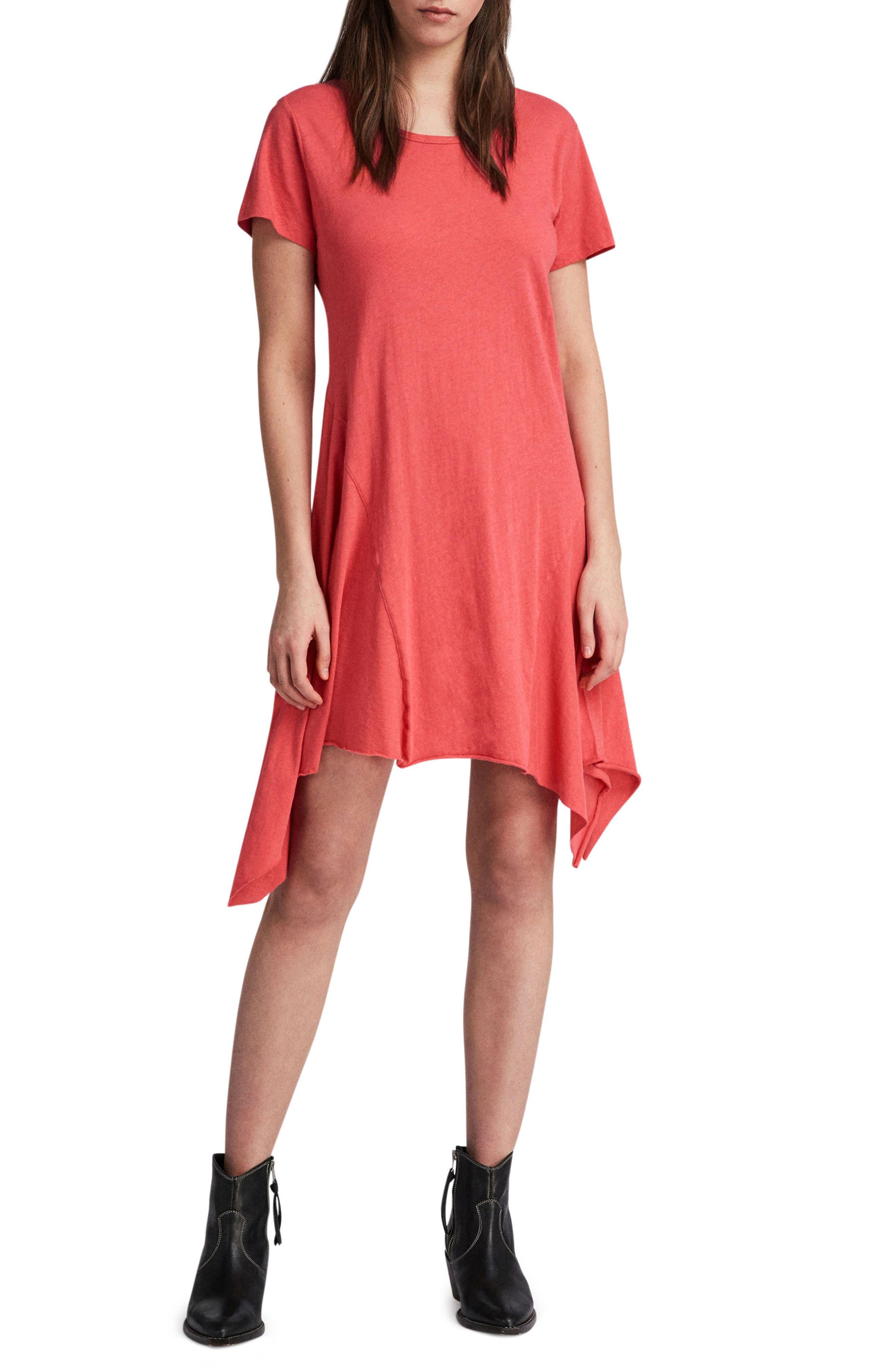 Ella Fifi Handkerchief Hem T-Shirt Dress,                             Main thumbnail 1, color,                             Coral Pink