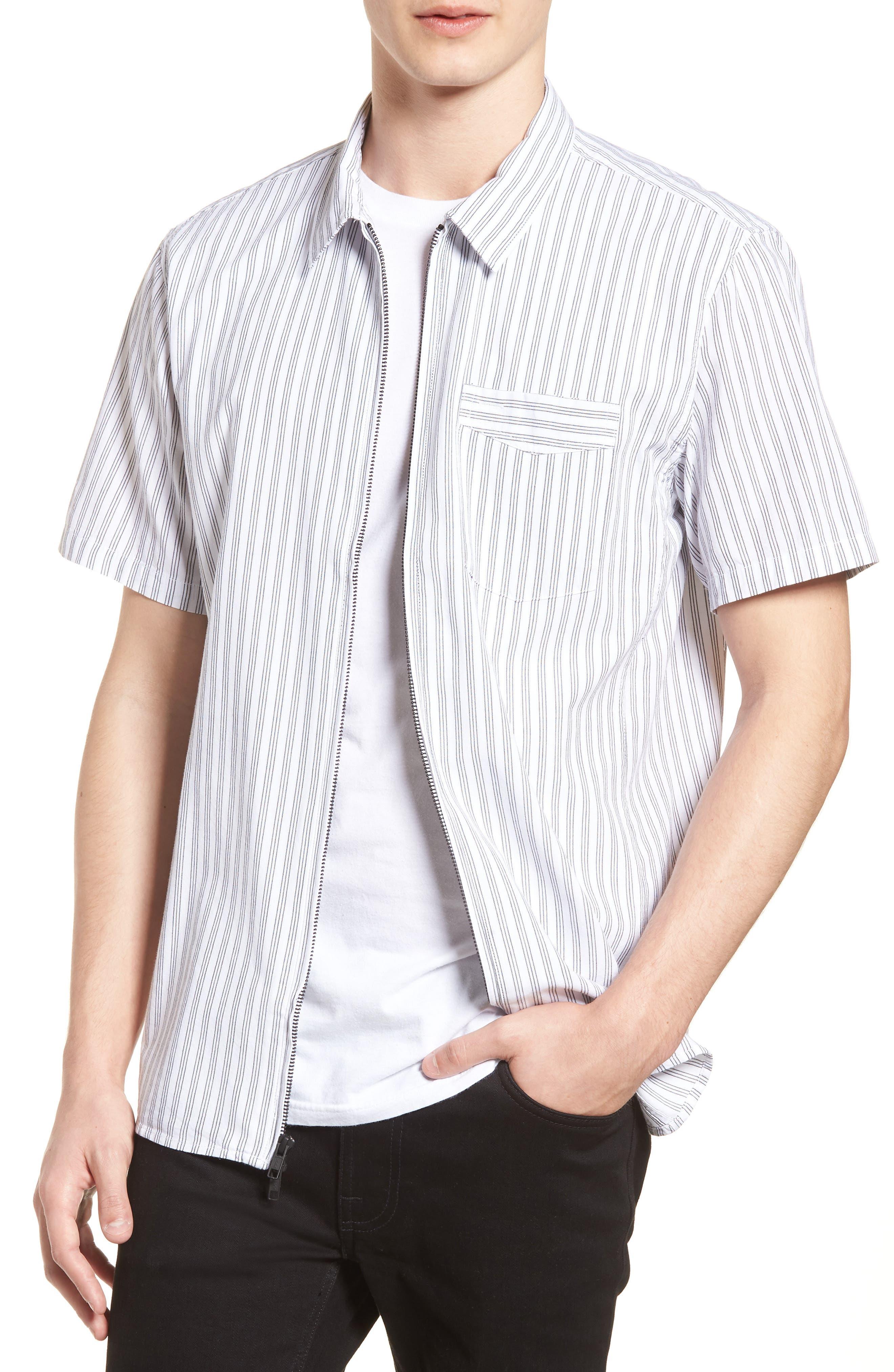 Rollins Woven Shirt,                             Alternate thumbnail 4, color,                             Black/White Stripe