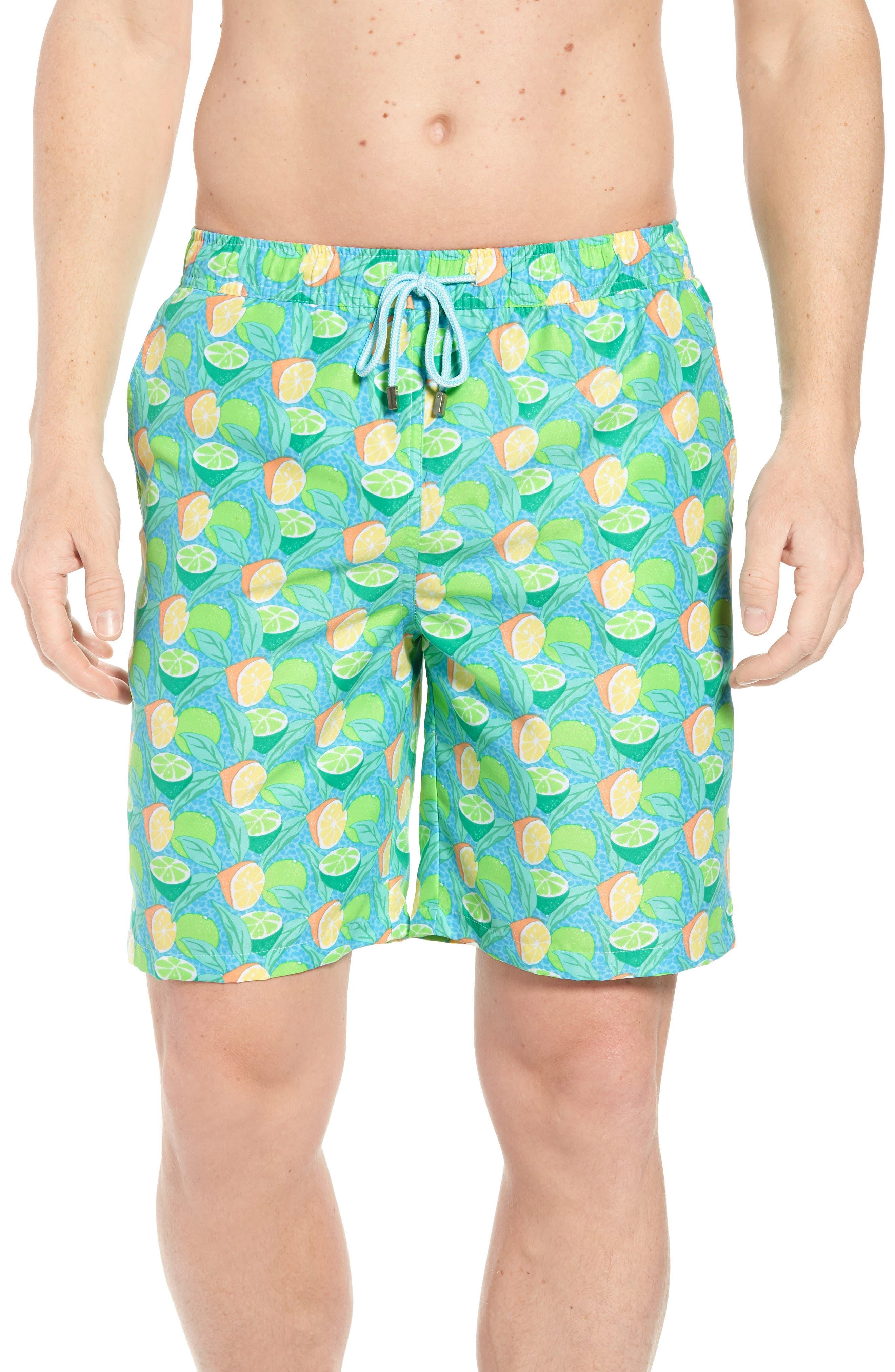 Sour Lemons Swim Trunks,                         Main,                         color, Watercress