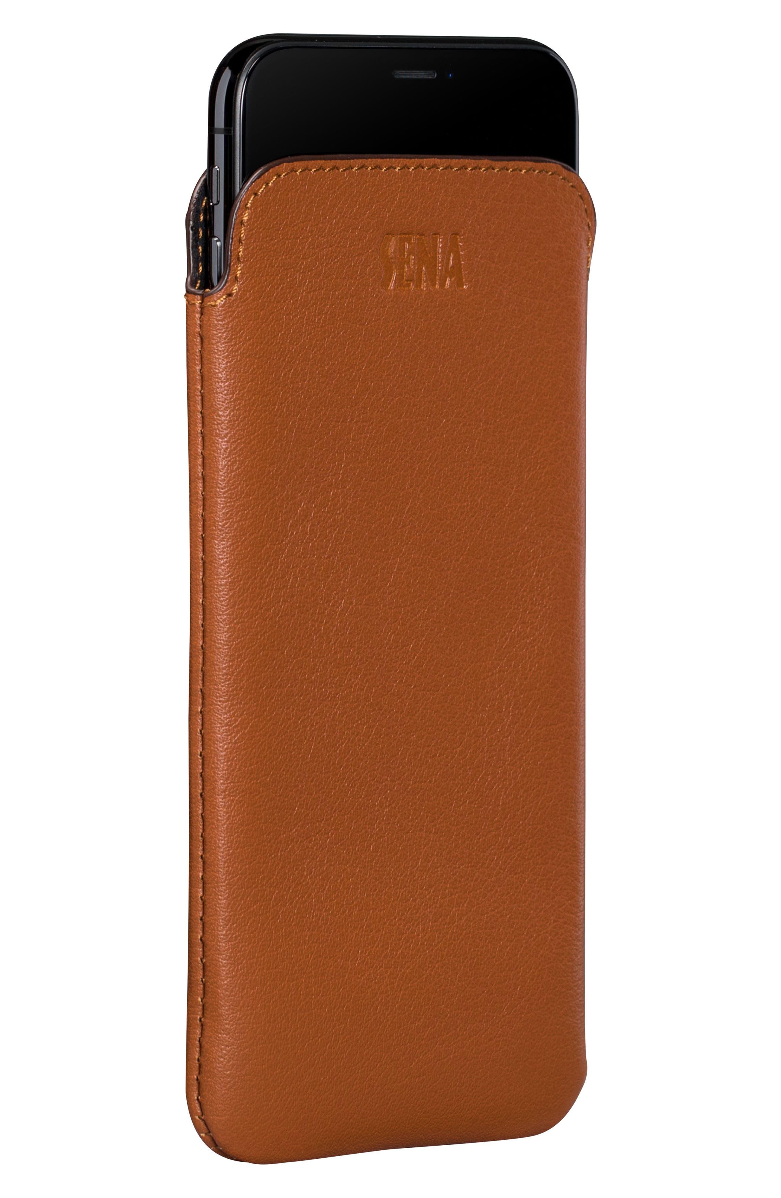 Ultraslim iPhone 6/7/8 Leather Sleeve,                             Alternate thumbnail 2, color,                             Tan
