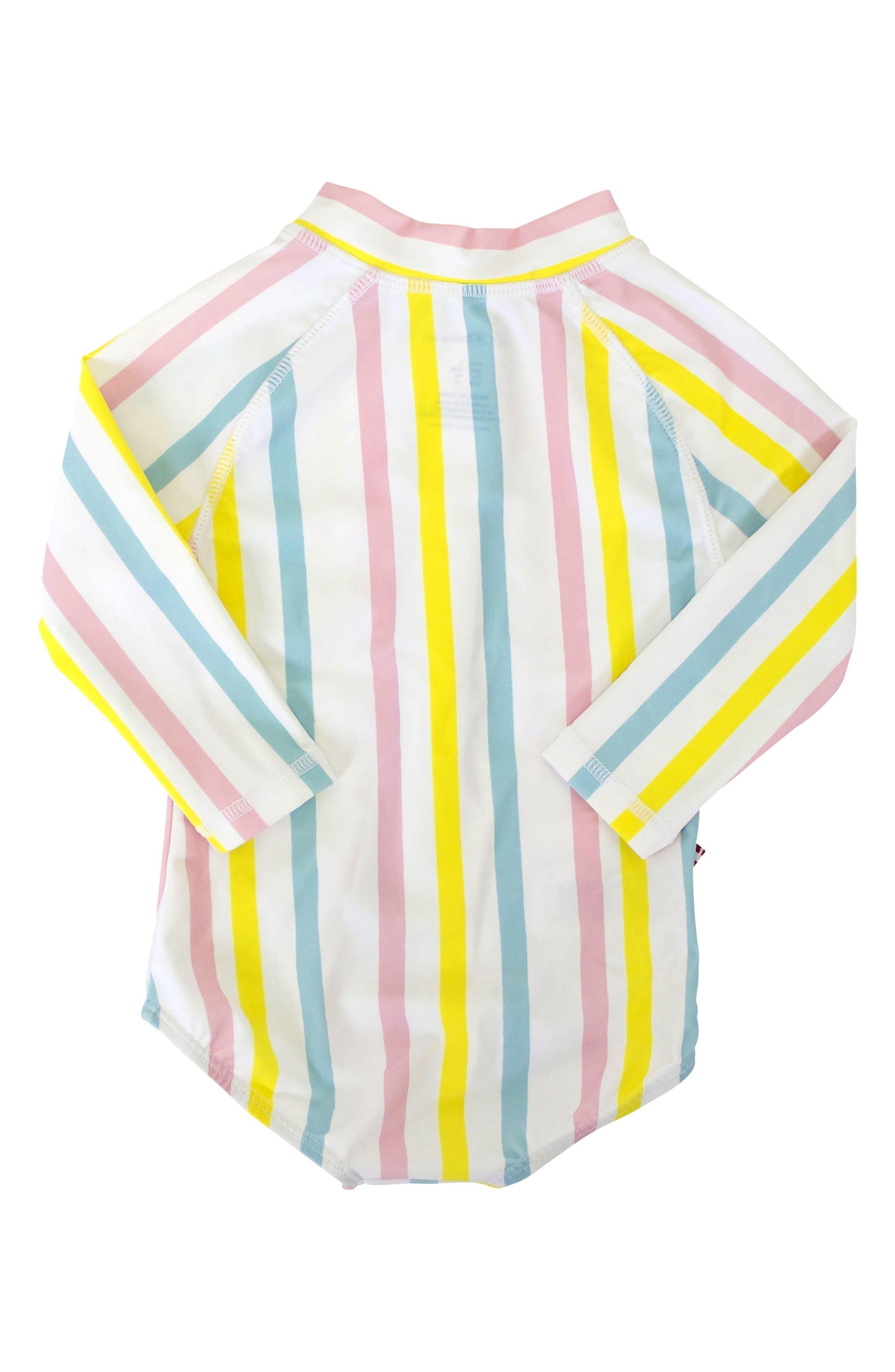 Stripe One-Piece Rashguard Swimsuit,                             Alternate thumbnail 2, color,                             Yellow Multi