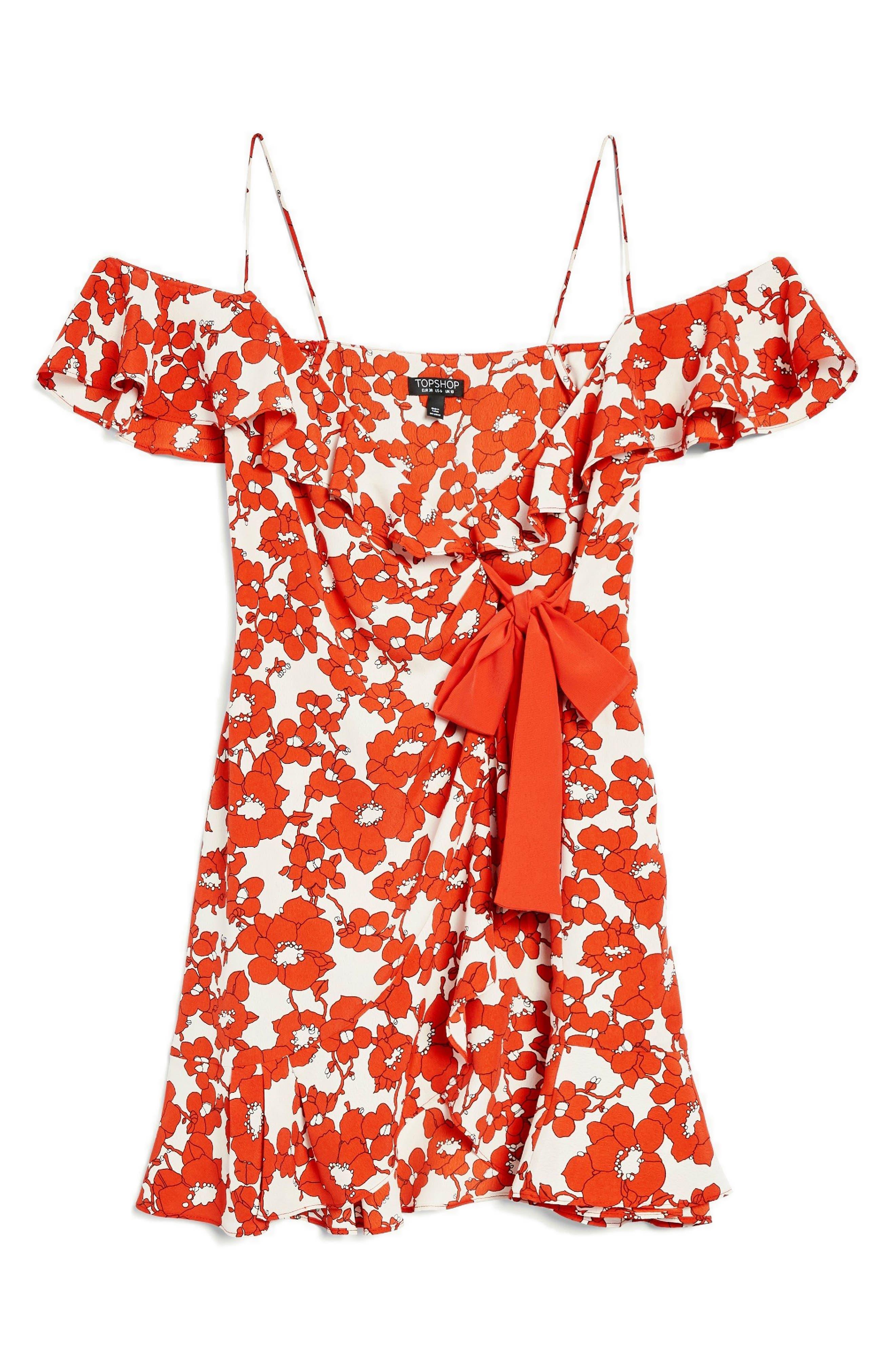 Poppy Ruffle Wrap Minidress,                             Alternate thumbnail 4, color,                             Red Multi