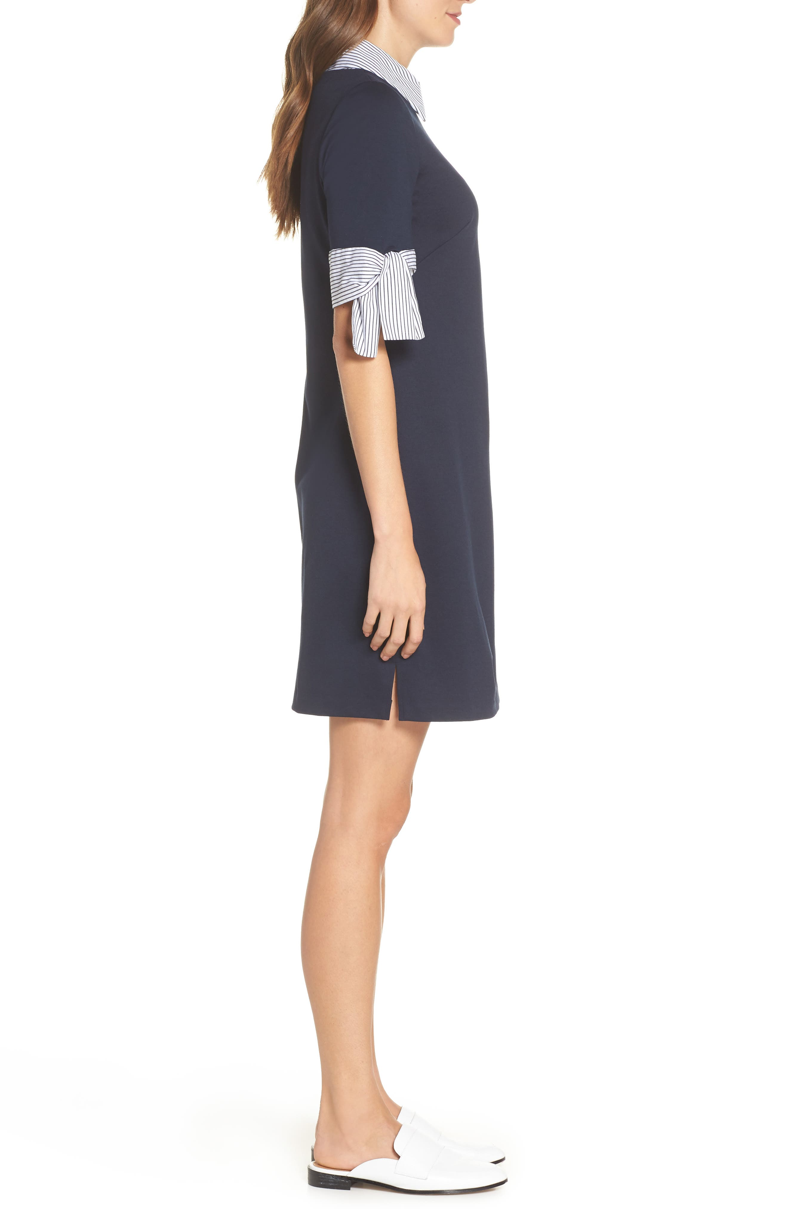 Layered Look Ponte Shift Dress,                             Alternate thumbnail 3, color,                             Navy Ivory