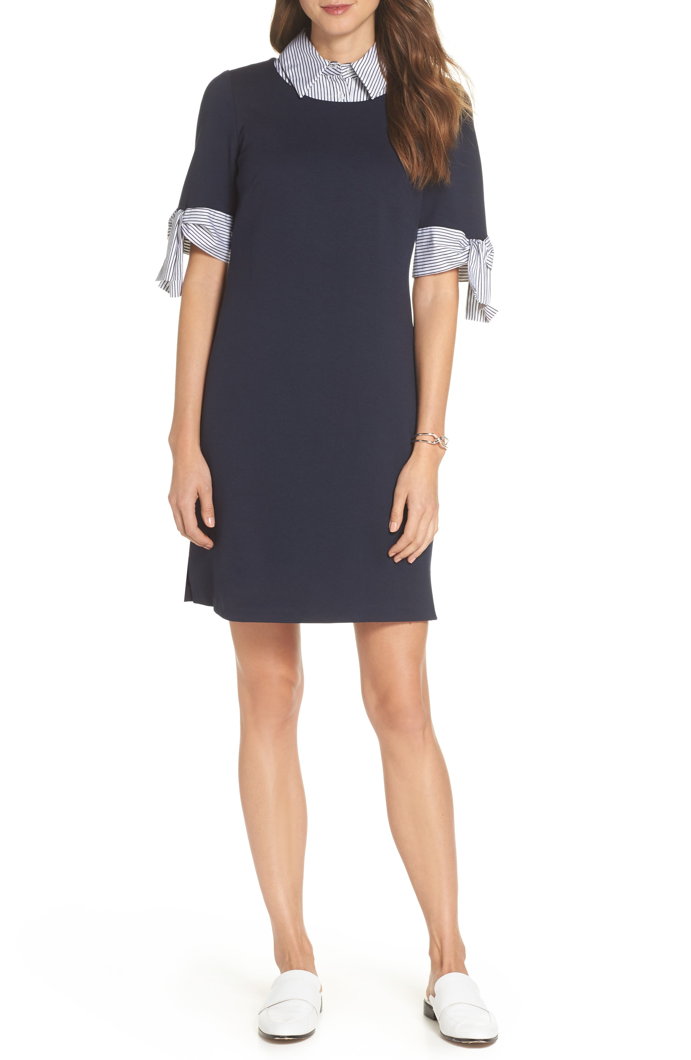 Layered Look Ponte Shift Dress,                         Main,                         color, Navy Ivory