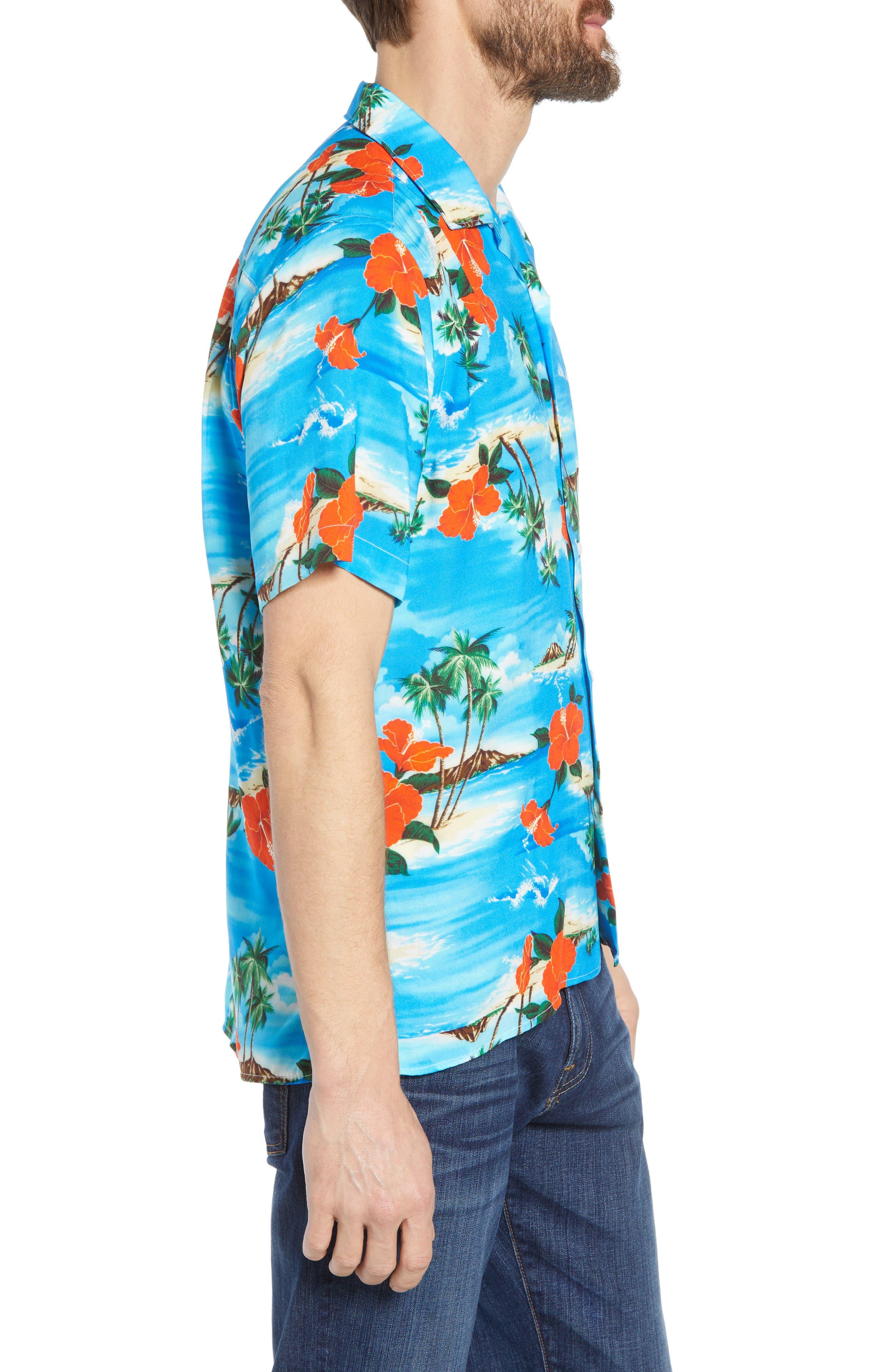 Regular Fit Print Camp Shirt,                             Alternate thumbnail 4, color,                             Blue Aloha