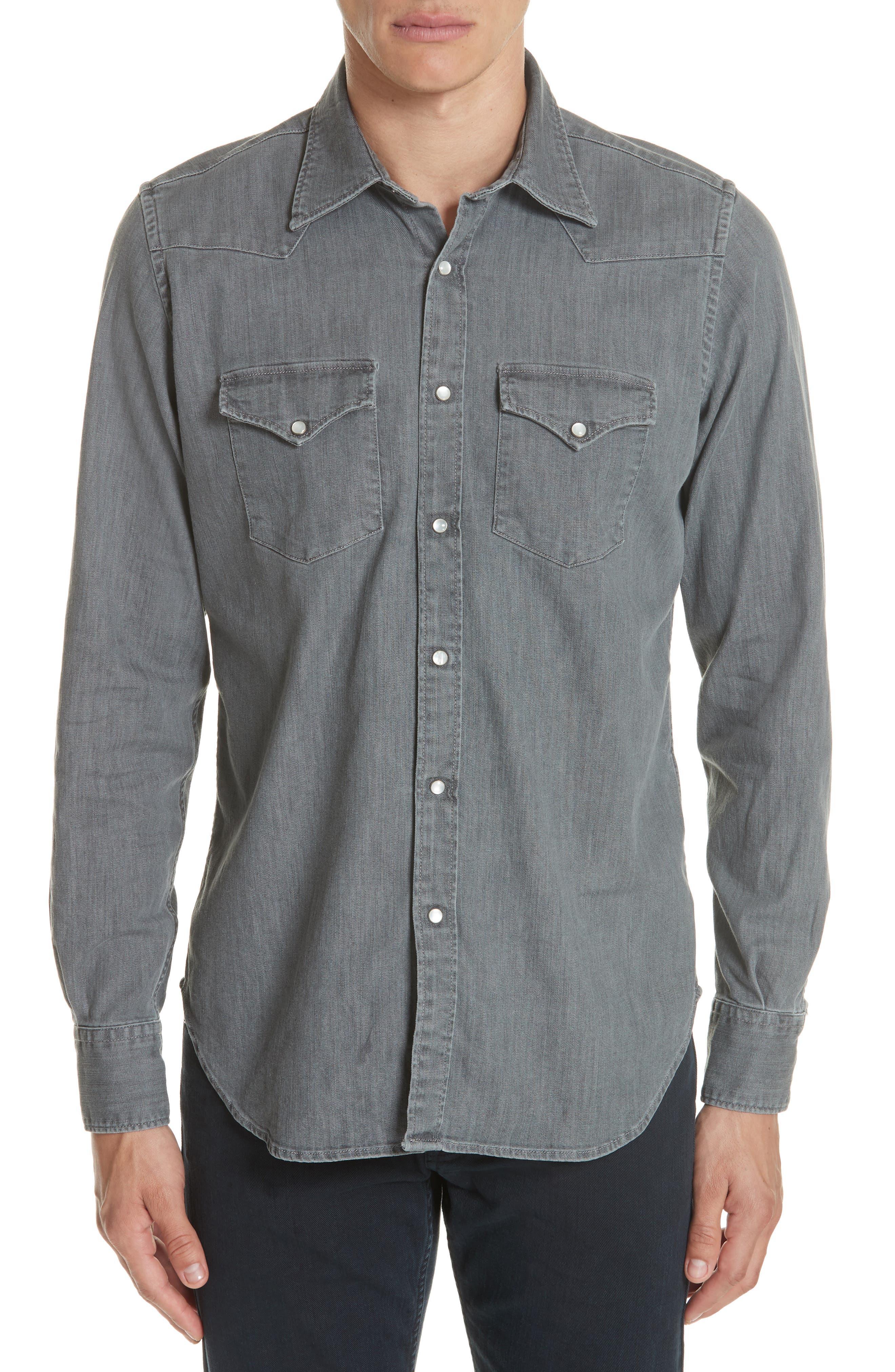 Slim Fit Denim Western Shirt,                         Main,                         color, Grey