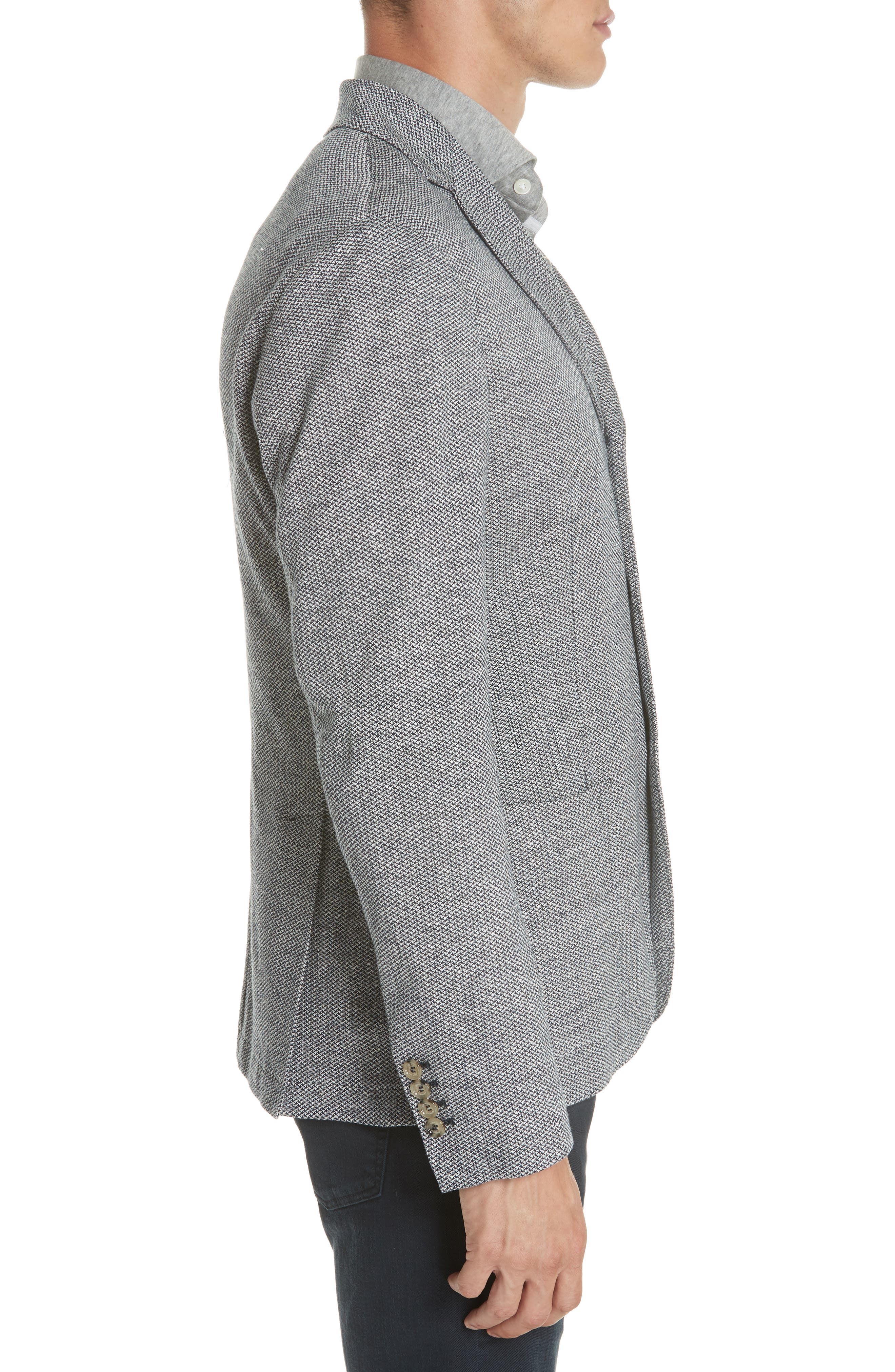 Trim Fit Linen & Cotton Blazer,                             Alternate thumbnail 3, color,                             Navy