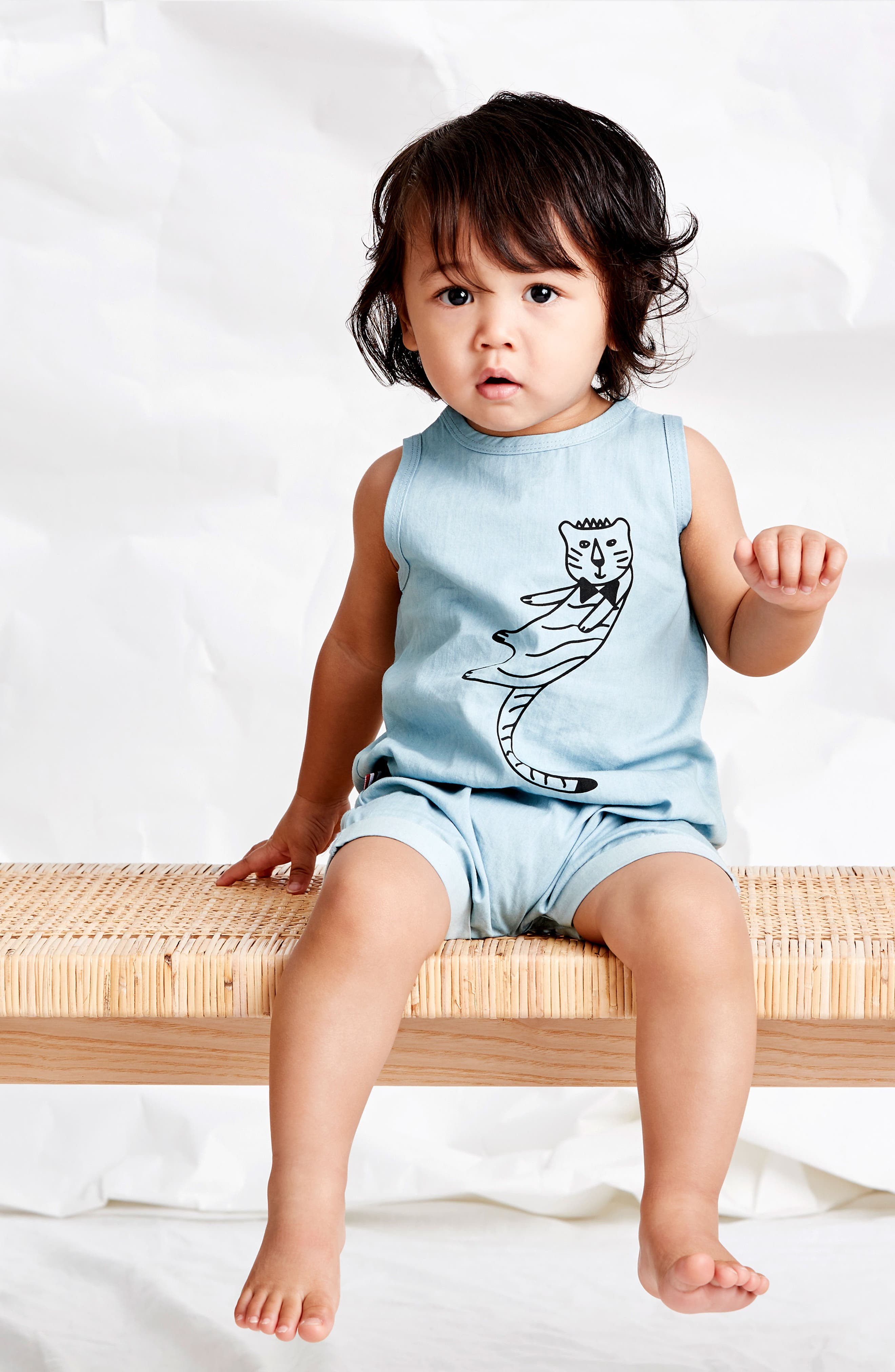 Cool Cat Romper,                             Alternate thumbnail 3, color,                             Chambray