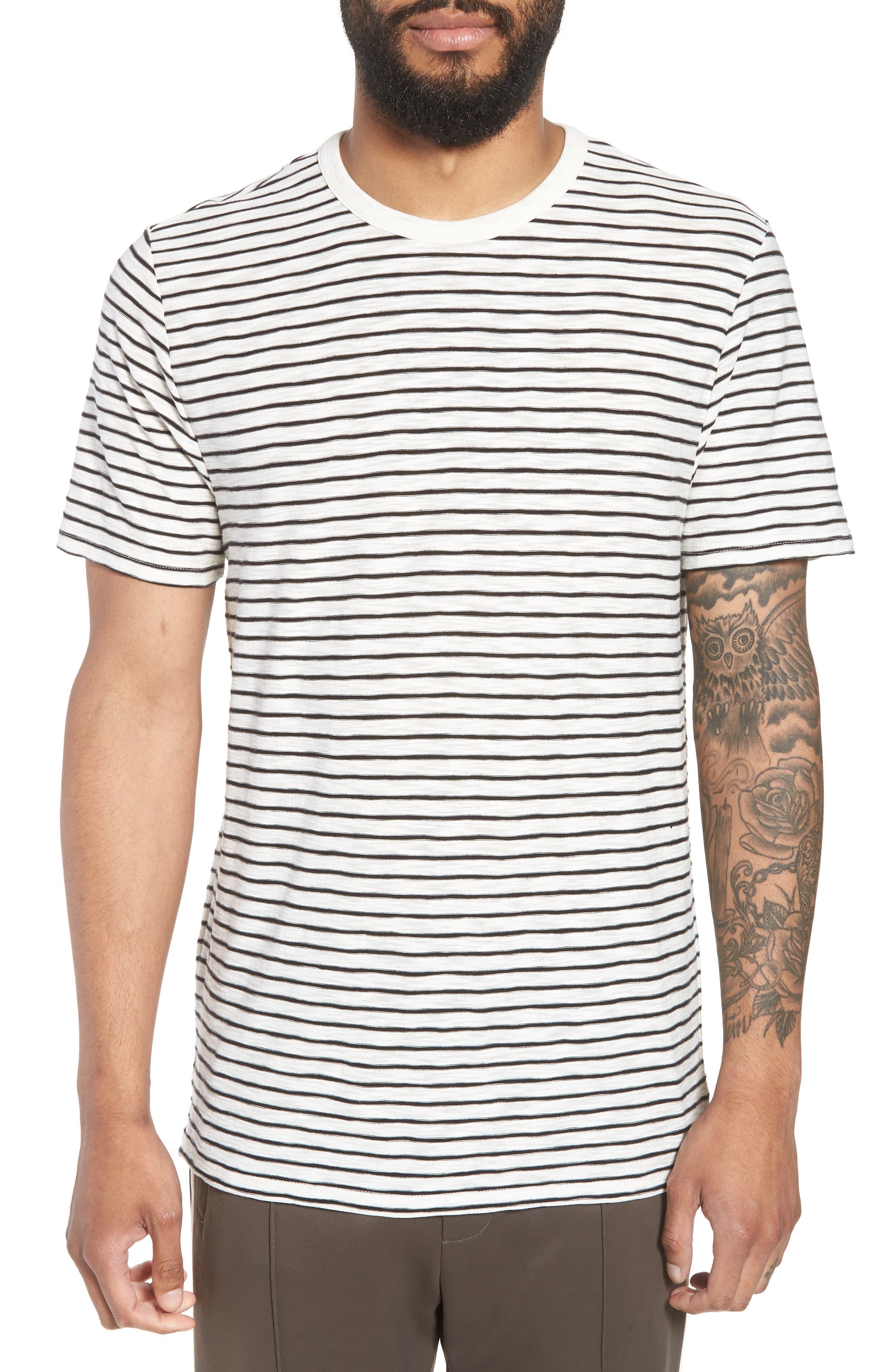 Stripe Crewneck T-Shirt,                             Main thumbnail 1, color,                             Off White/ Black