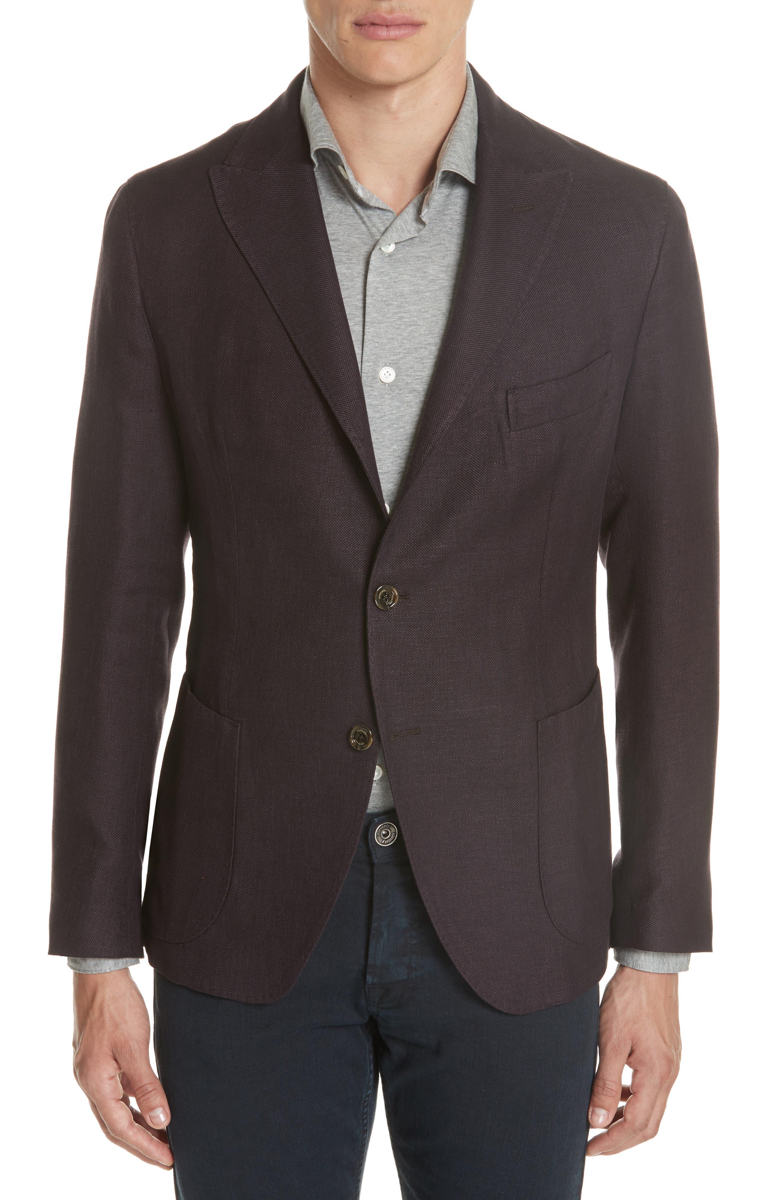Trim Fit Linen Blend Blazer,                         Main,                         color, Aubergine