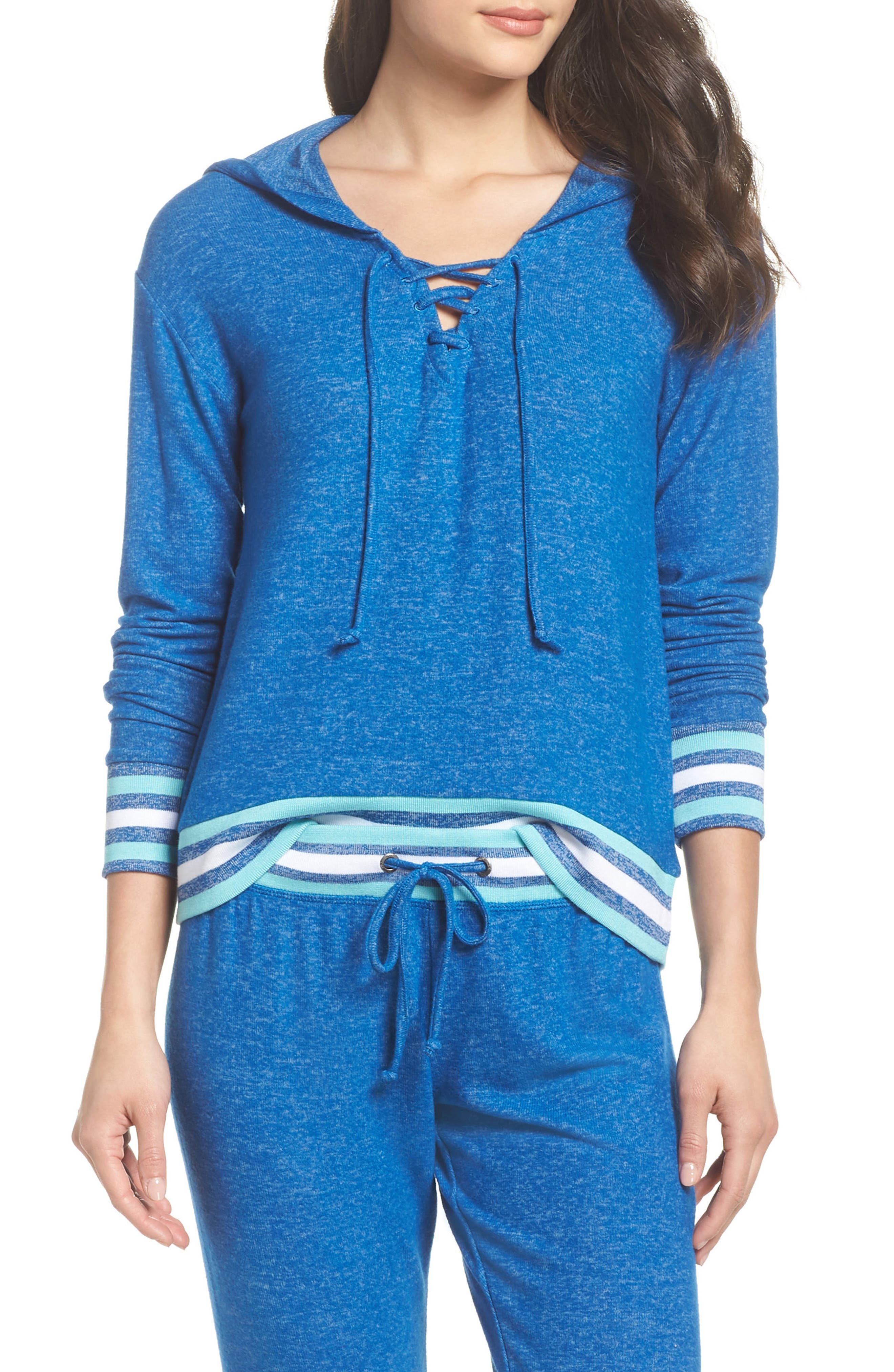 Brushed Hacci Hoodie,                         Main,                         color, Blue Classics