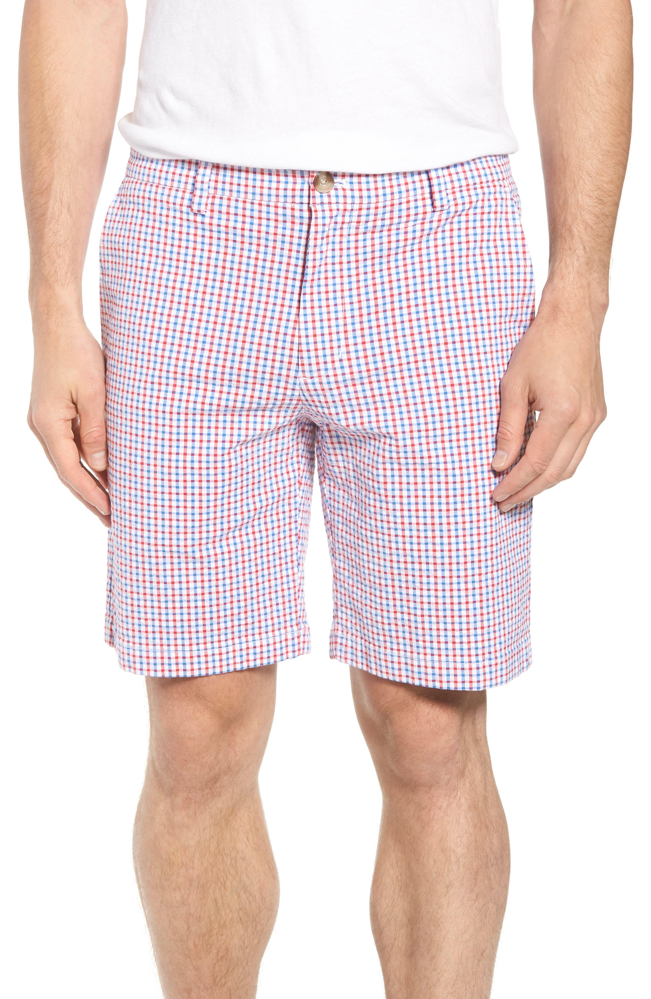 Gingham Seersucker Stretch Breaker Shorts,                         Main,                         color, Spinnaker