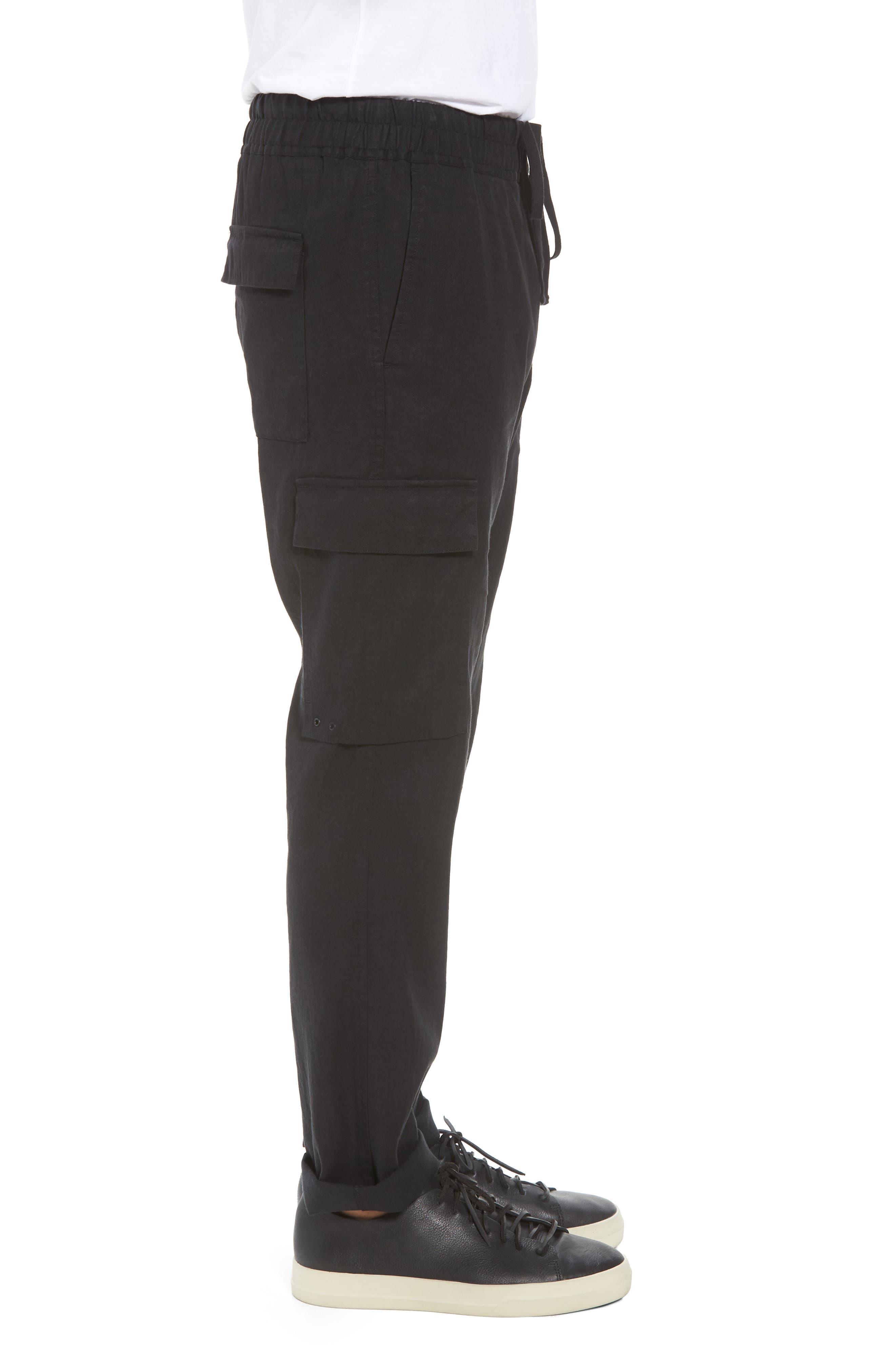 Stretch Linen & Cotton Cargo Pants,                             Alternate thumbnail 3, color,                             Black