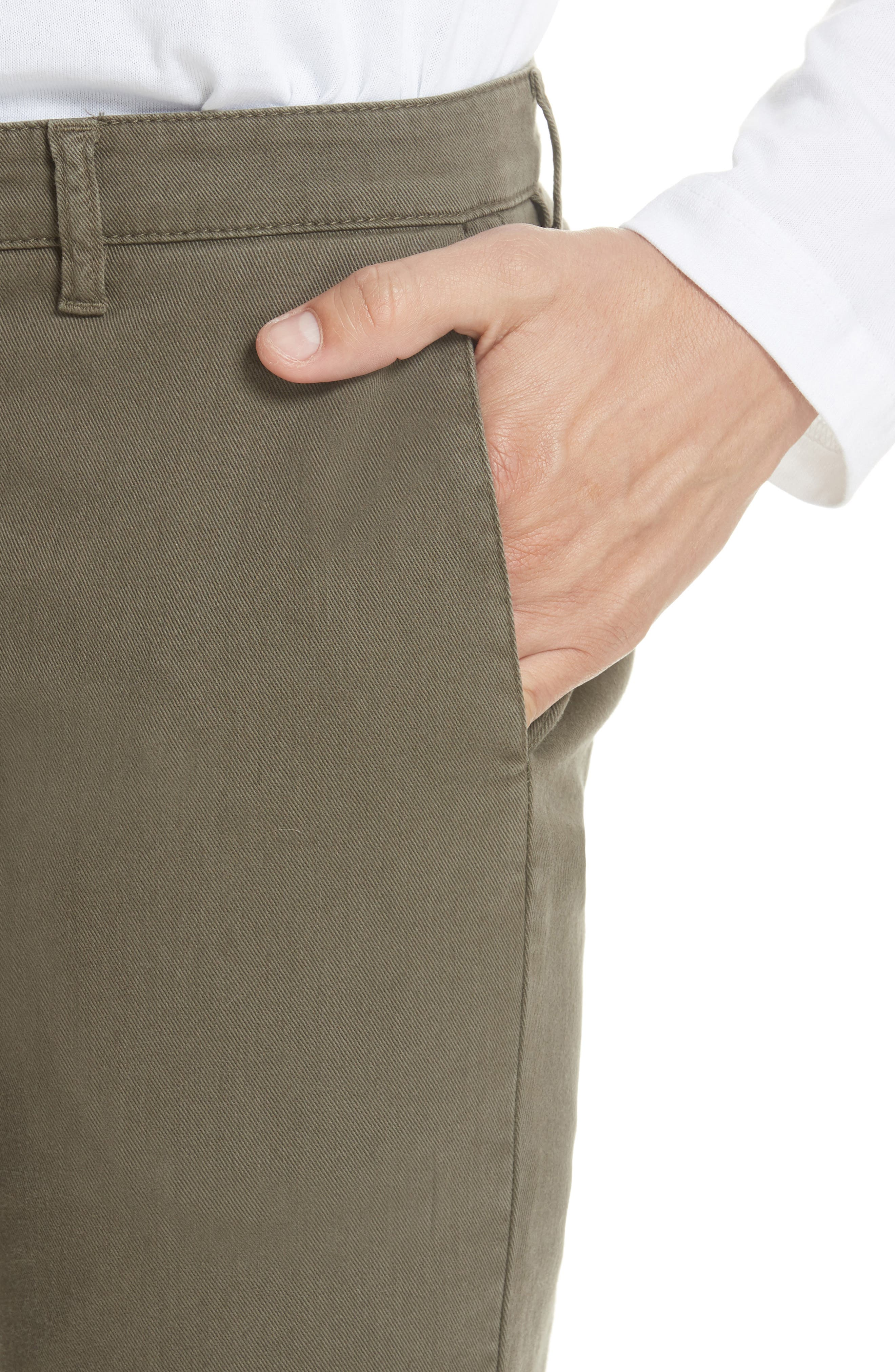 Stretch Cotton Chino Pants,                             Alternate thumbnail 4, color,                             Military