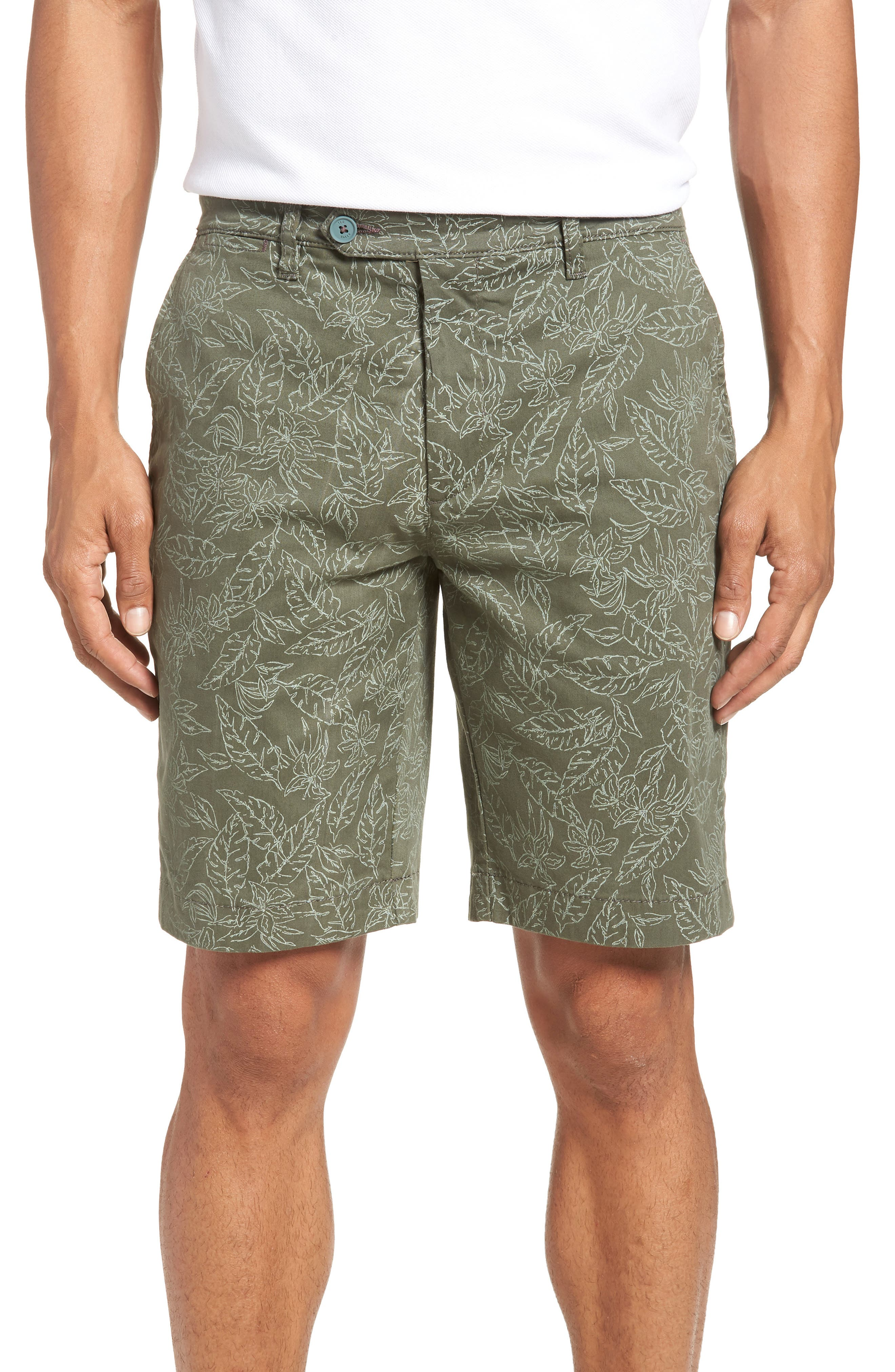 Leaf Print Shorts,                         Main,                         color, Green
