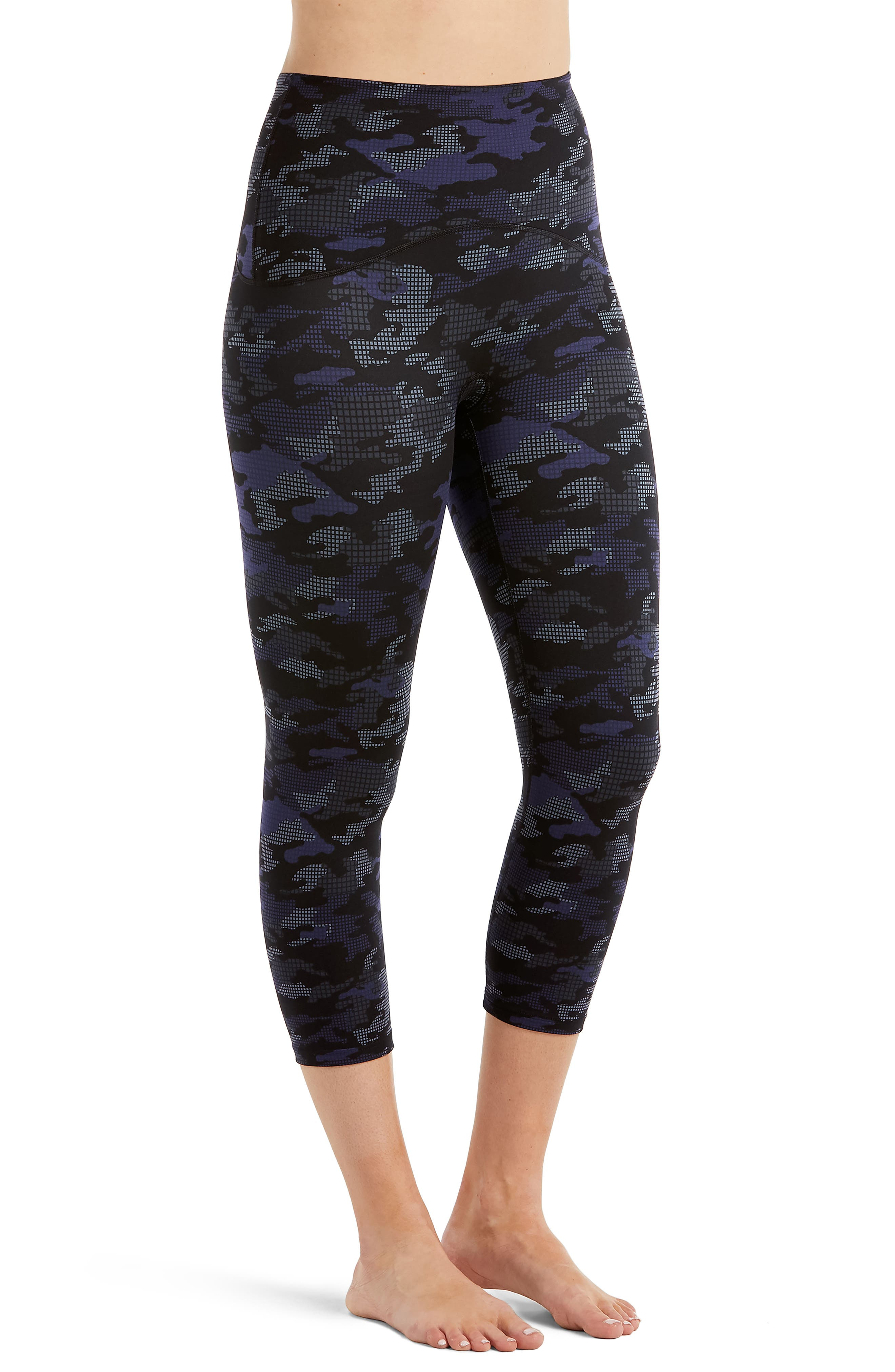Active Print Crop Leggings,                         Main,                         color, Geo Blue Camo