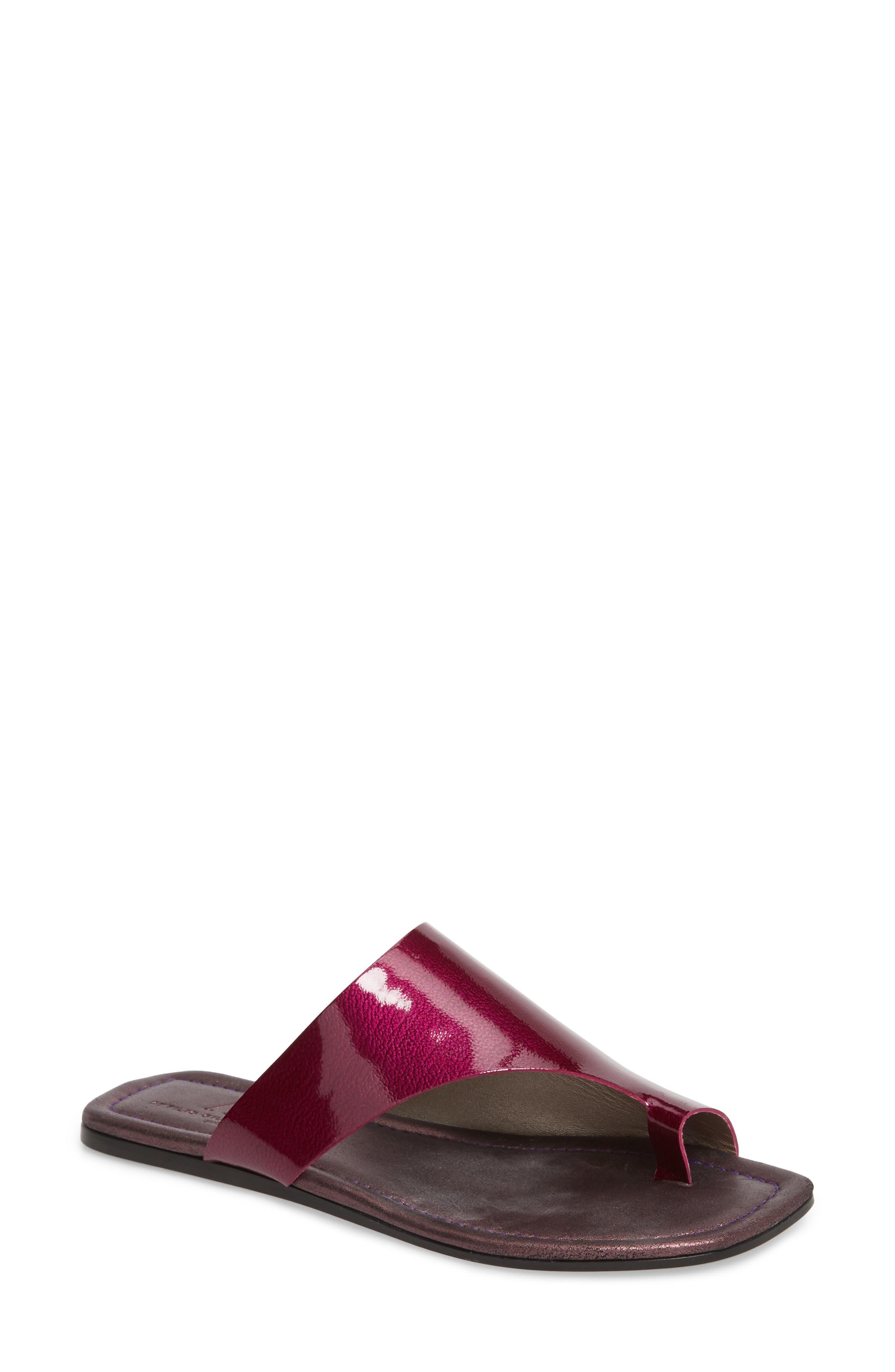 Asymmetrical Toe Thong Sandal,                             Main thumbnail 1, color,                             Fuchsia Patent