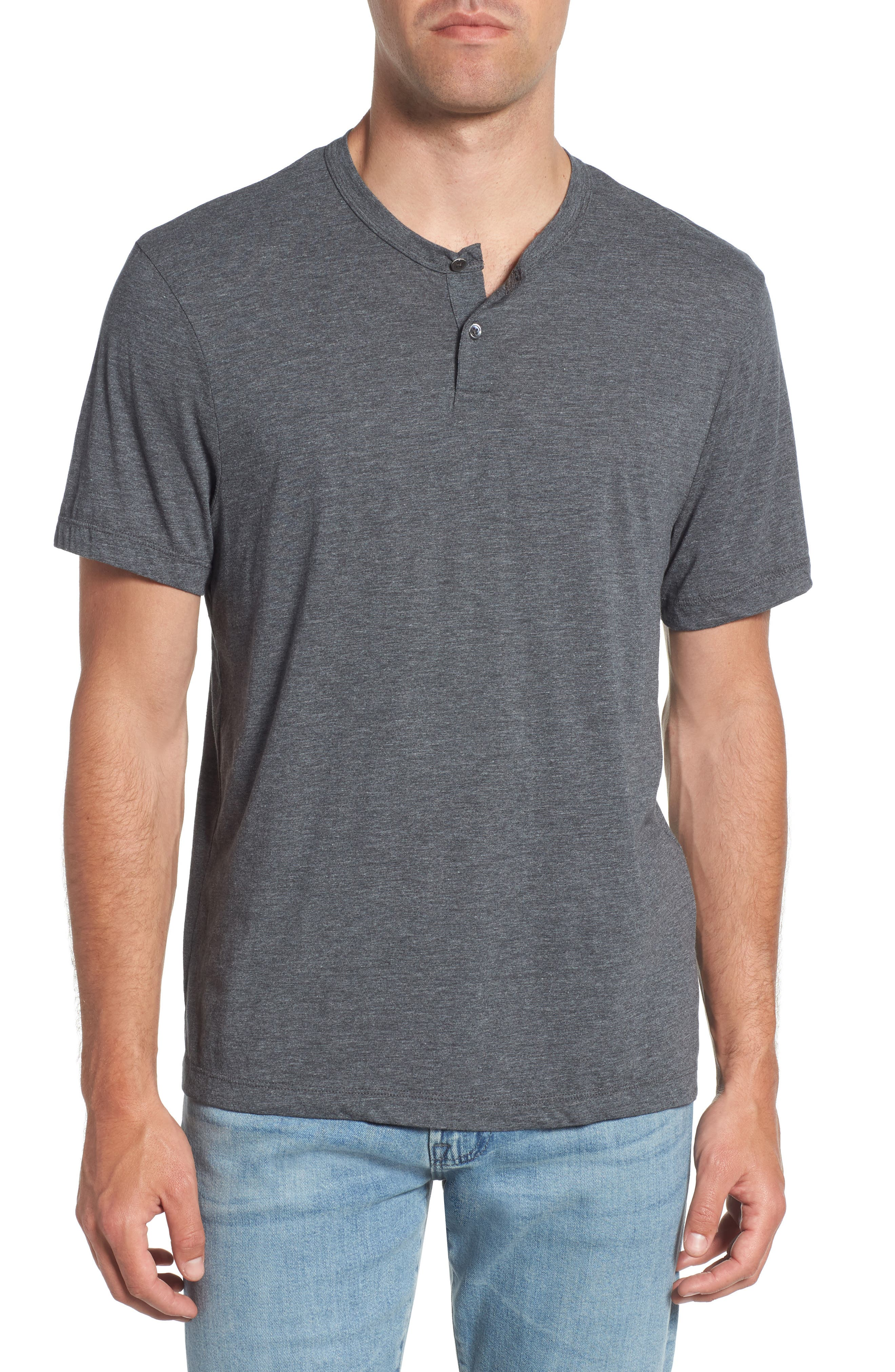 Cotton Blend Short Sleeve Henley,                         Main,                         color, Anthracite