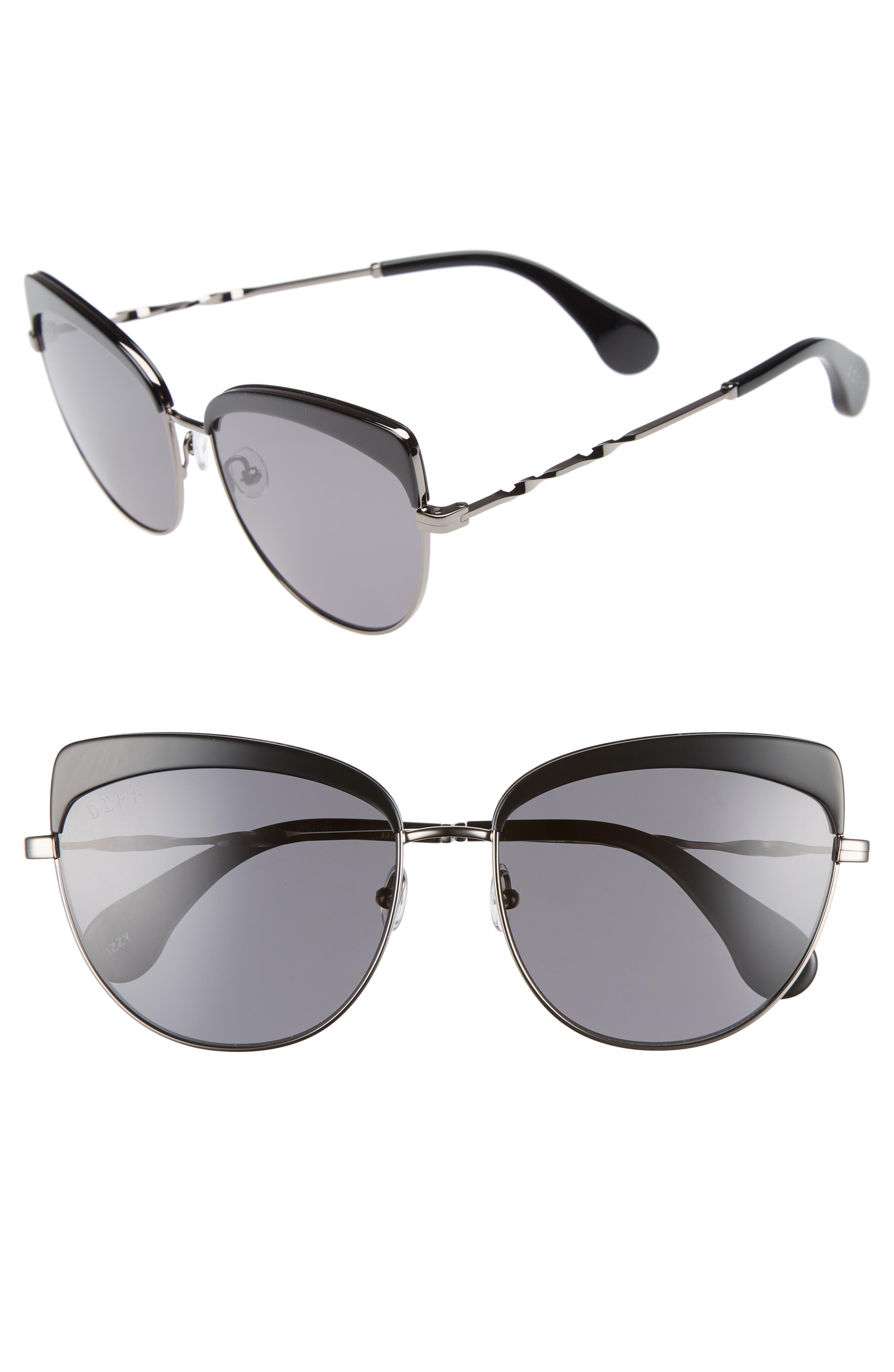 Izzy 59mm Polarized Cat Eye Sunglasses,                             Main thumbnail 1, color,                             Black/ Grey