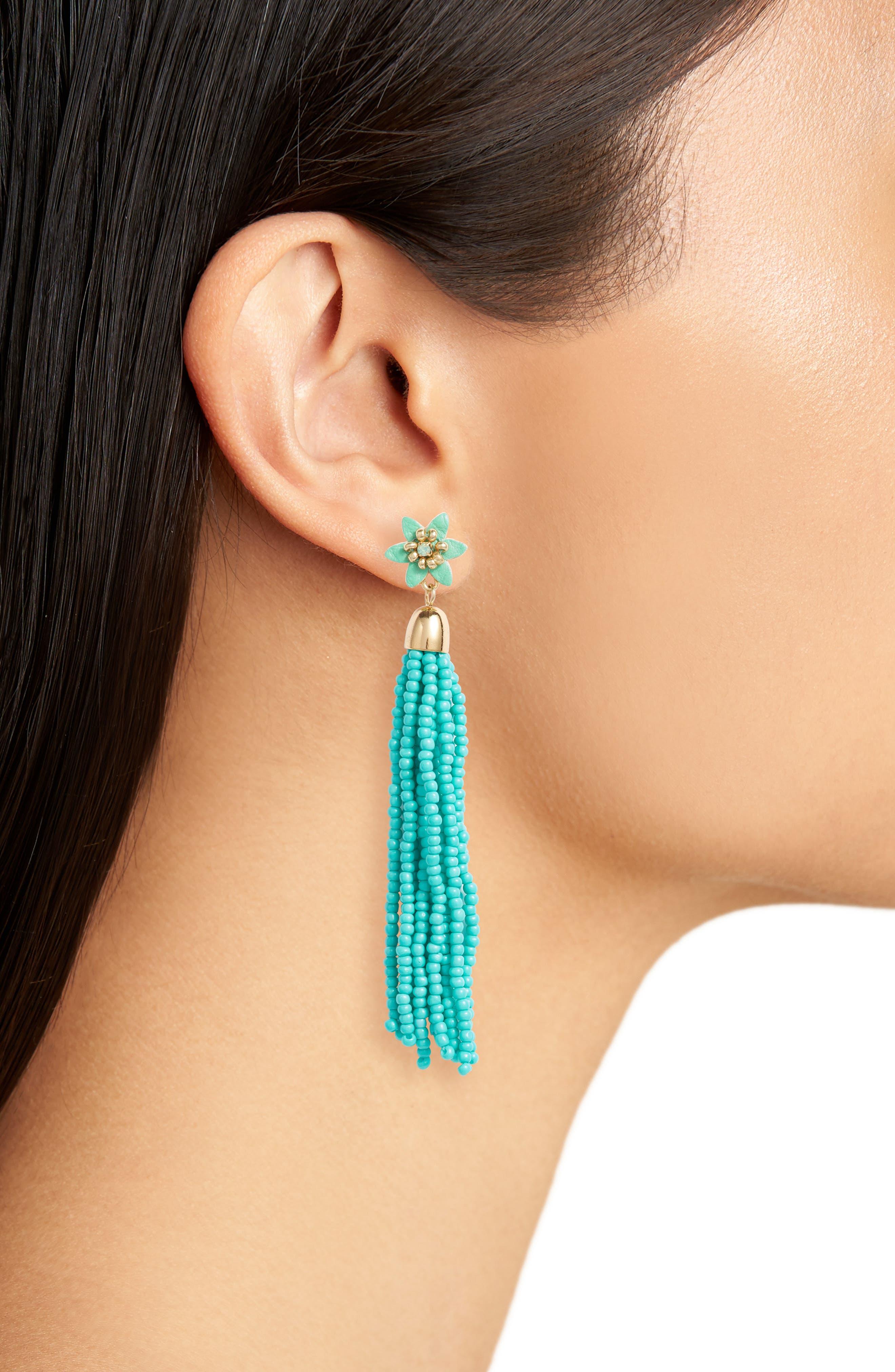 Calla Beaded Tassel Earrings,                             Alternate thumbnail 2, color,                             Turquoise/ Gold