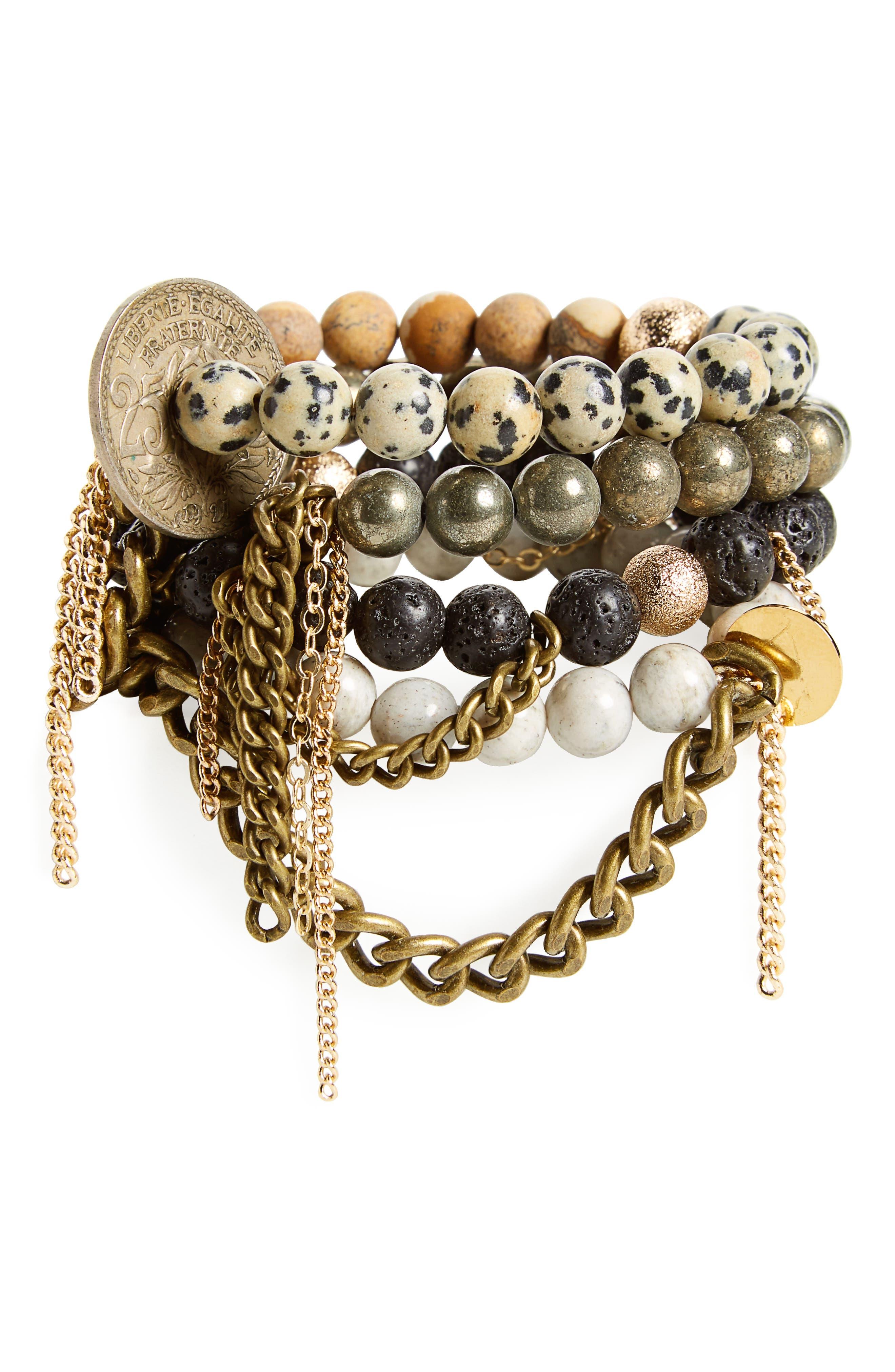 Set of 4 Stretch Bracelets,                         Main,                         color, Maddox