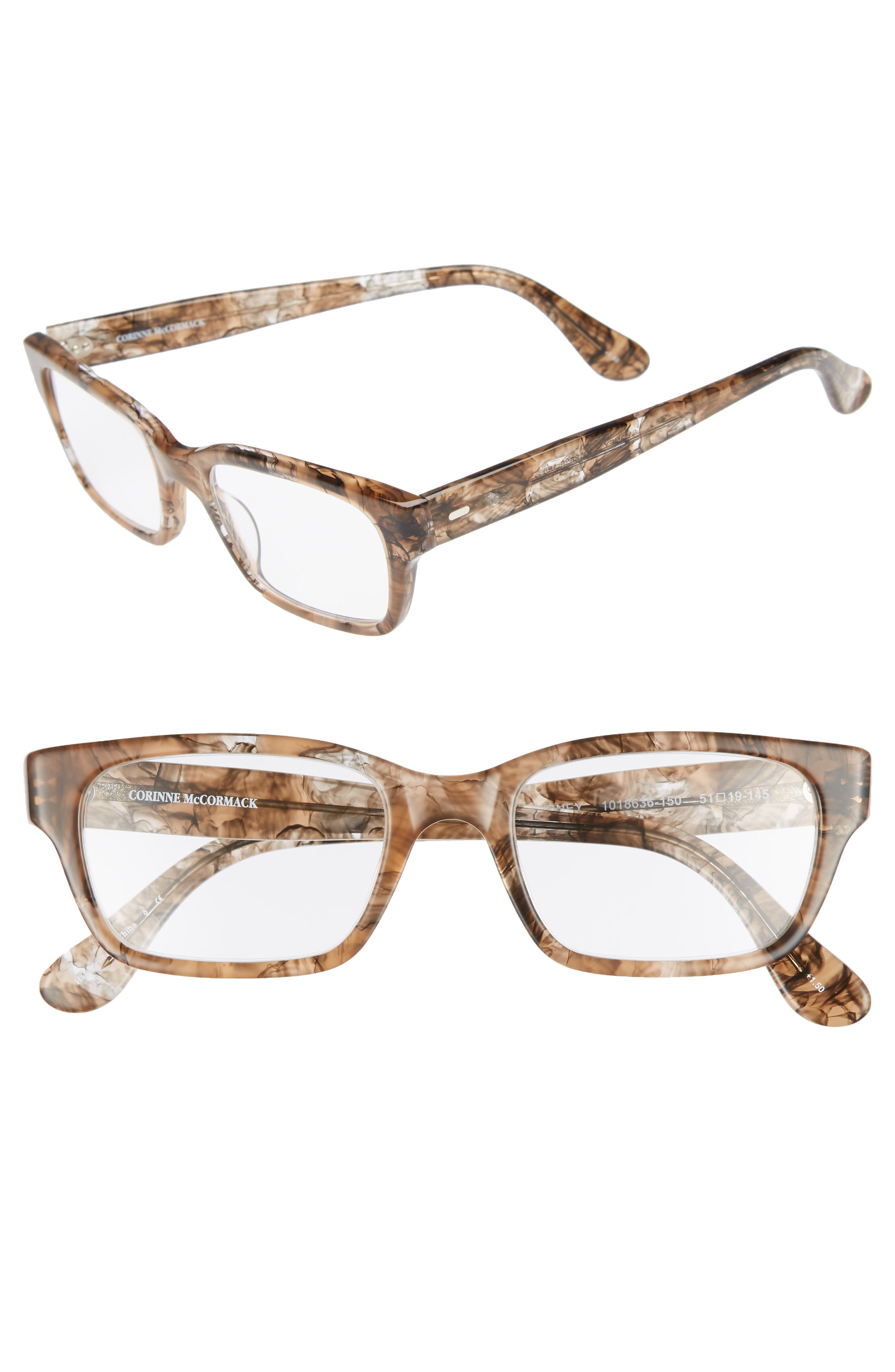 'Sydney' 51mm Reading Glasses,                             Main thumbnail 1, color,                             Transparent Marble