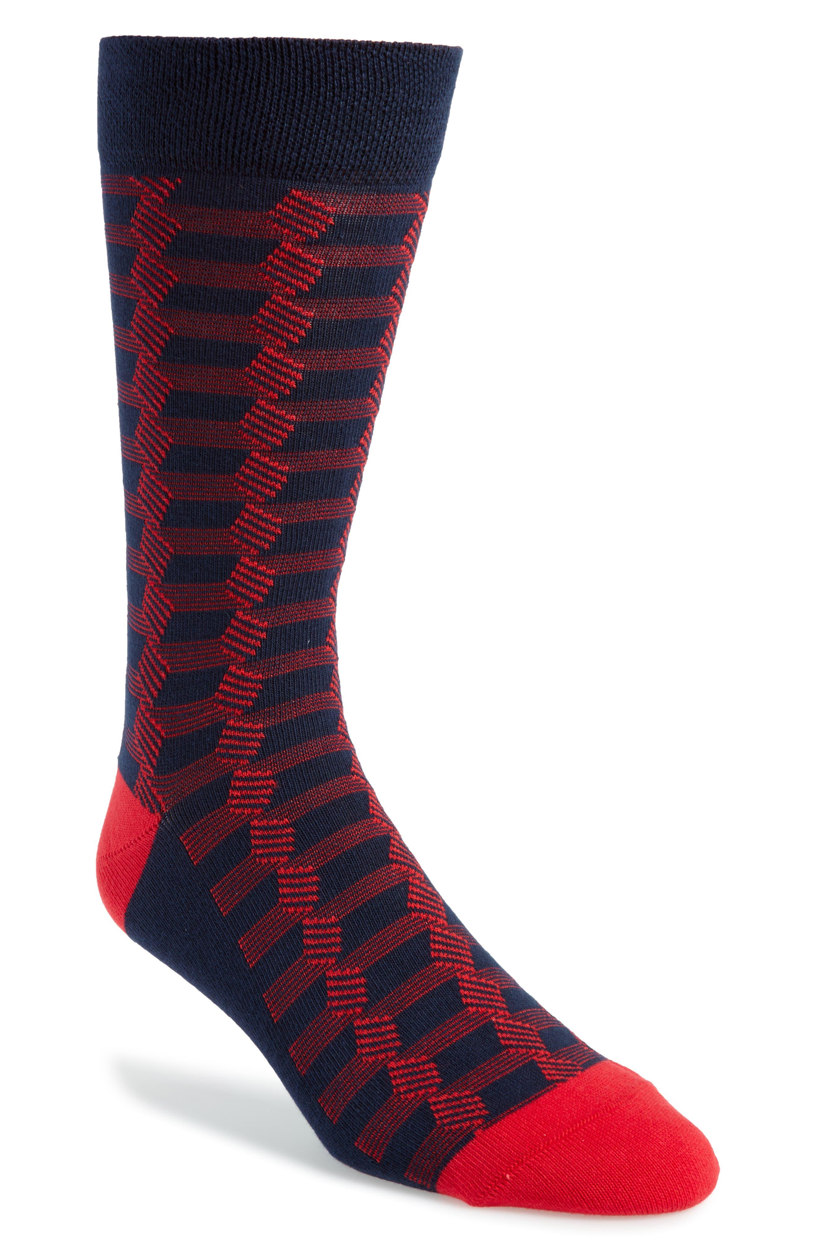 Geometric Socks,                             Main thumbnail 1, color,                             Navy