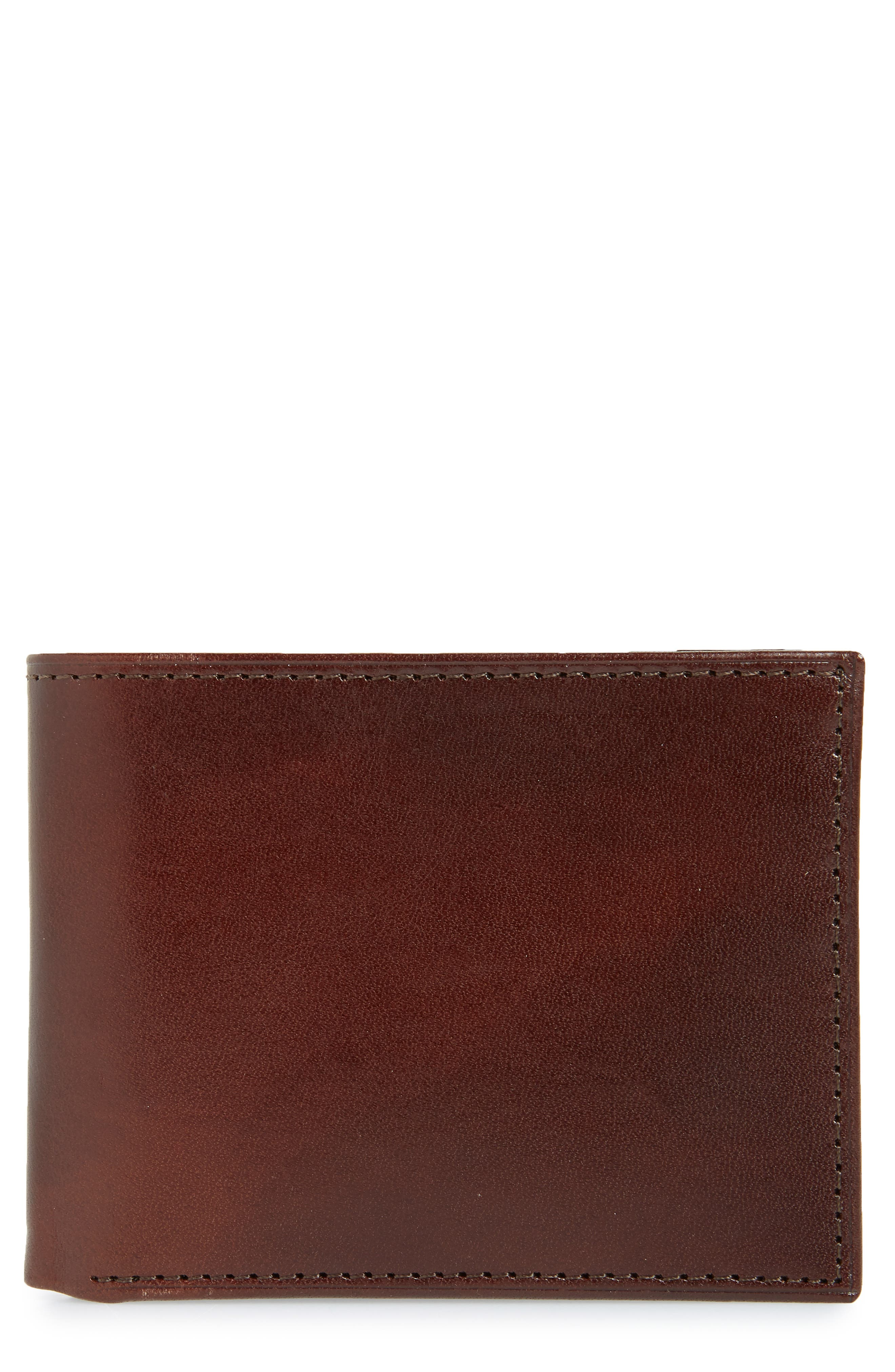 Slimfold Leather Wallet,                             Main thumbnail 1, color,                             Brown