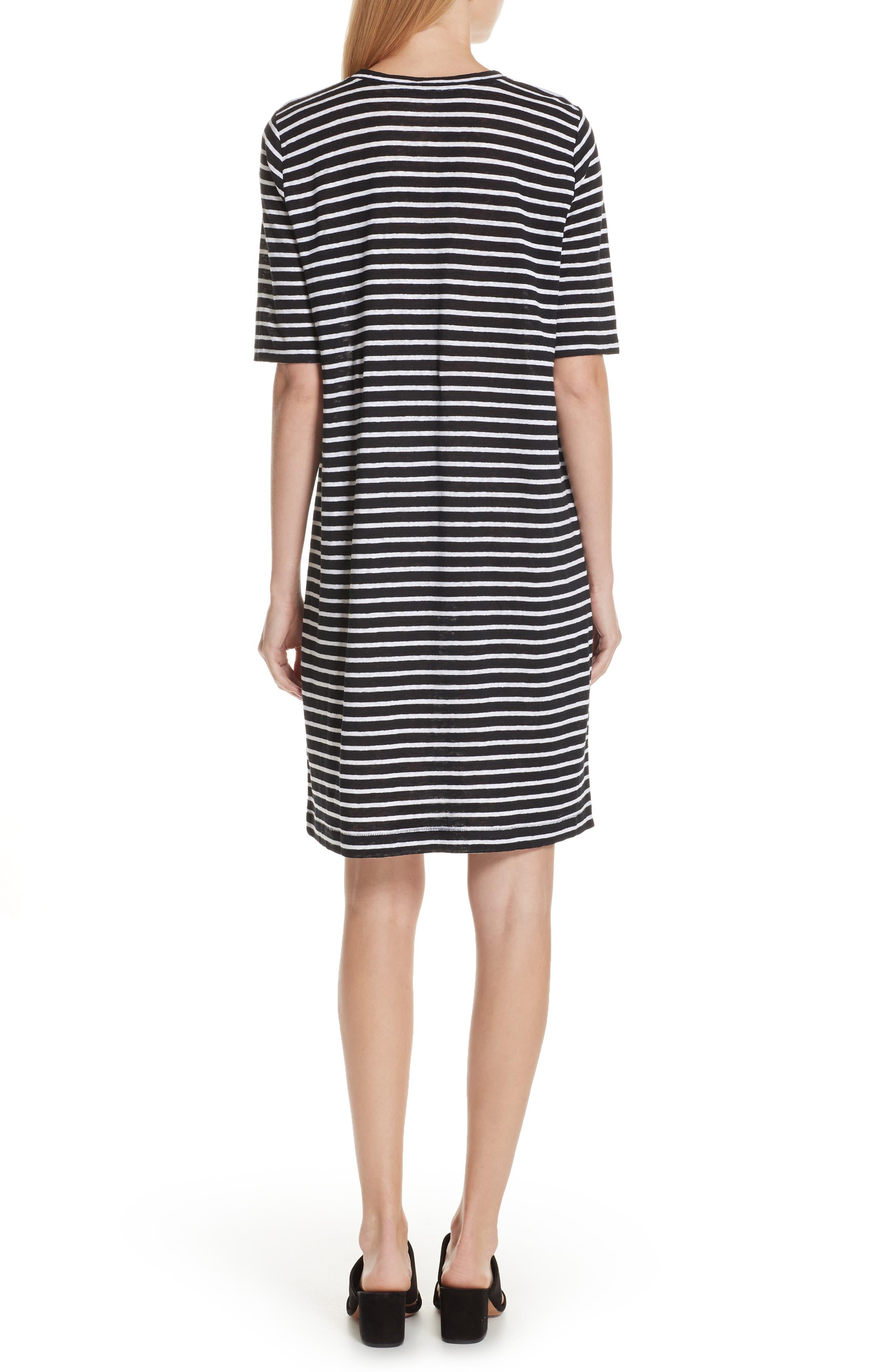 Stripe Organic Linen Knit Shift Dress,                             Alternate thumbnail 2, color,                             Black/ White