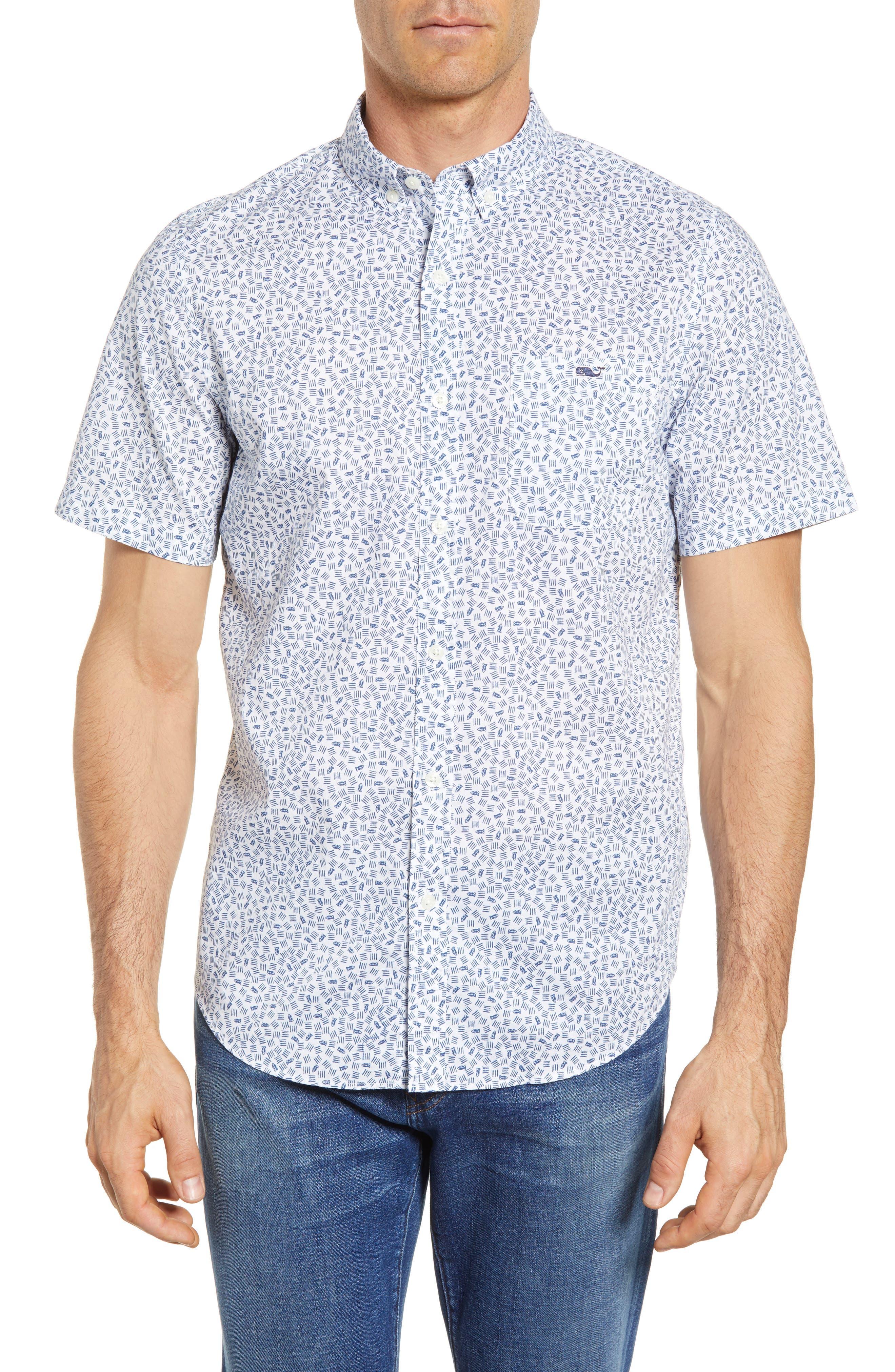 Fish Dash Tucker Slim Fit Sport Shirt,                         Main,                         color, White Cap