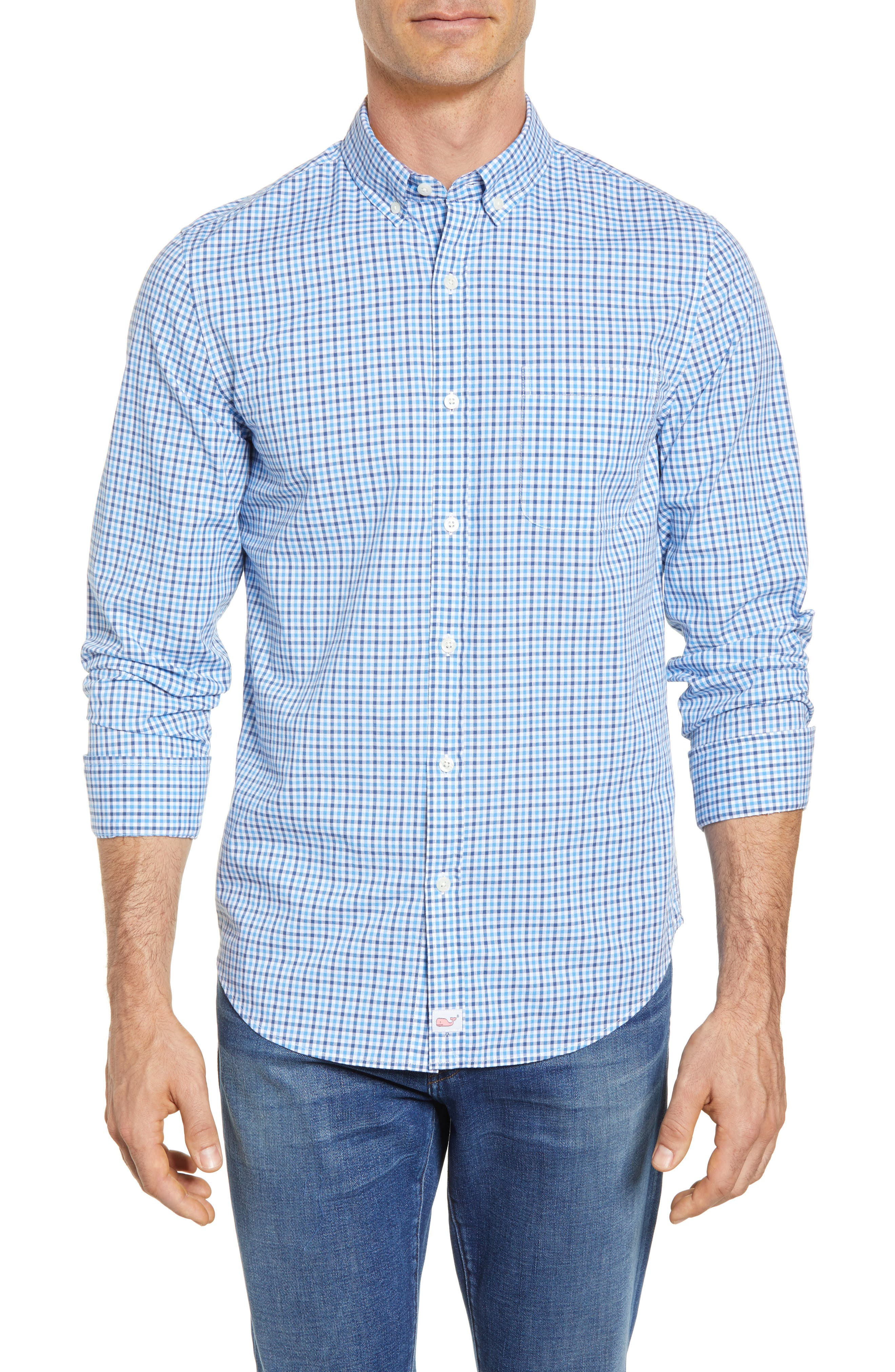 Point Gammon Slim Fit Gingham Sport Shirt,                         Main,                         color, Moonshine