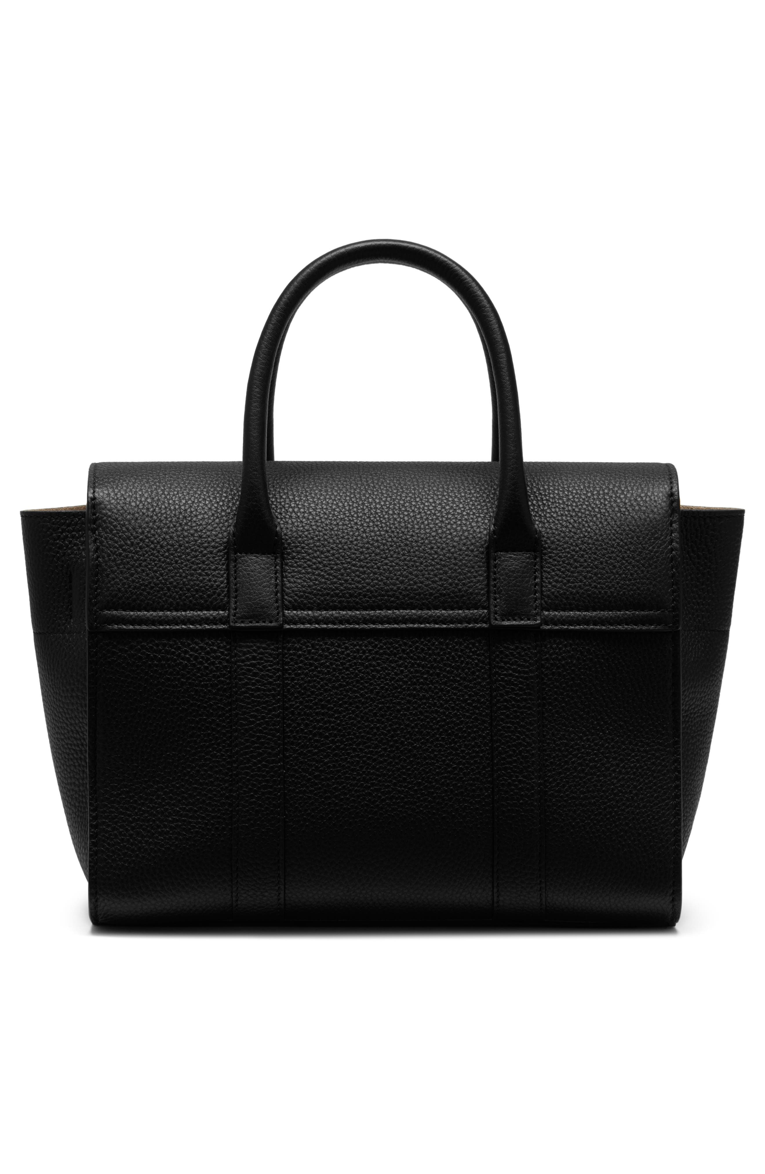 Small Bayswater Leather Satchel,                             Alternate thumbnail 2, color,                             Black