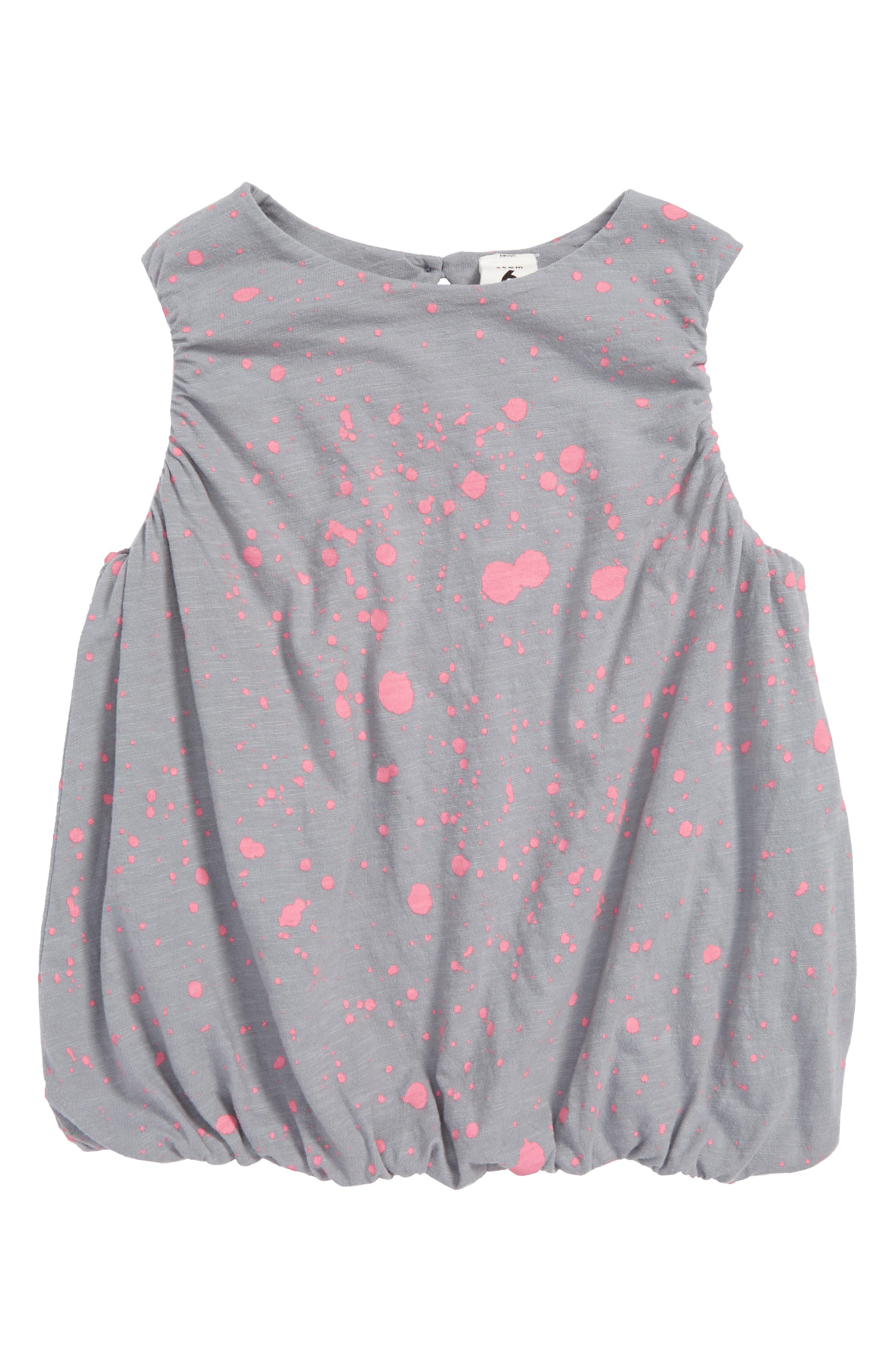 Print Bubble Tank,                             Main thumbnail 1, color,                             Grey Sleet- Pink Splatter