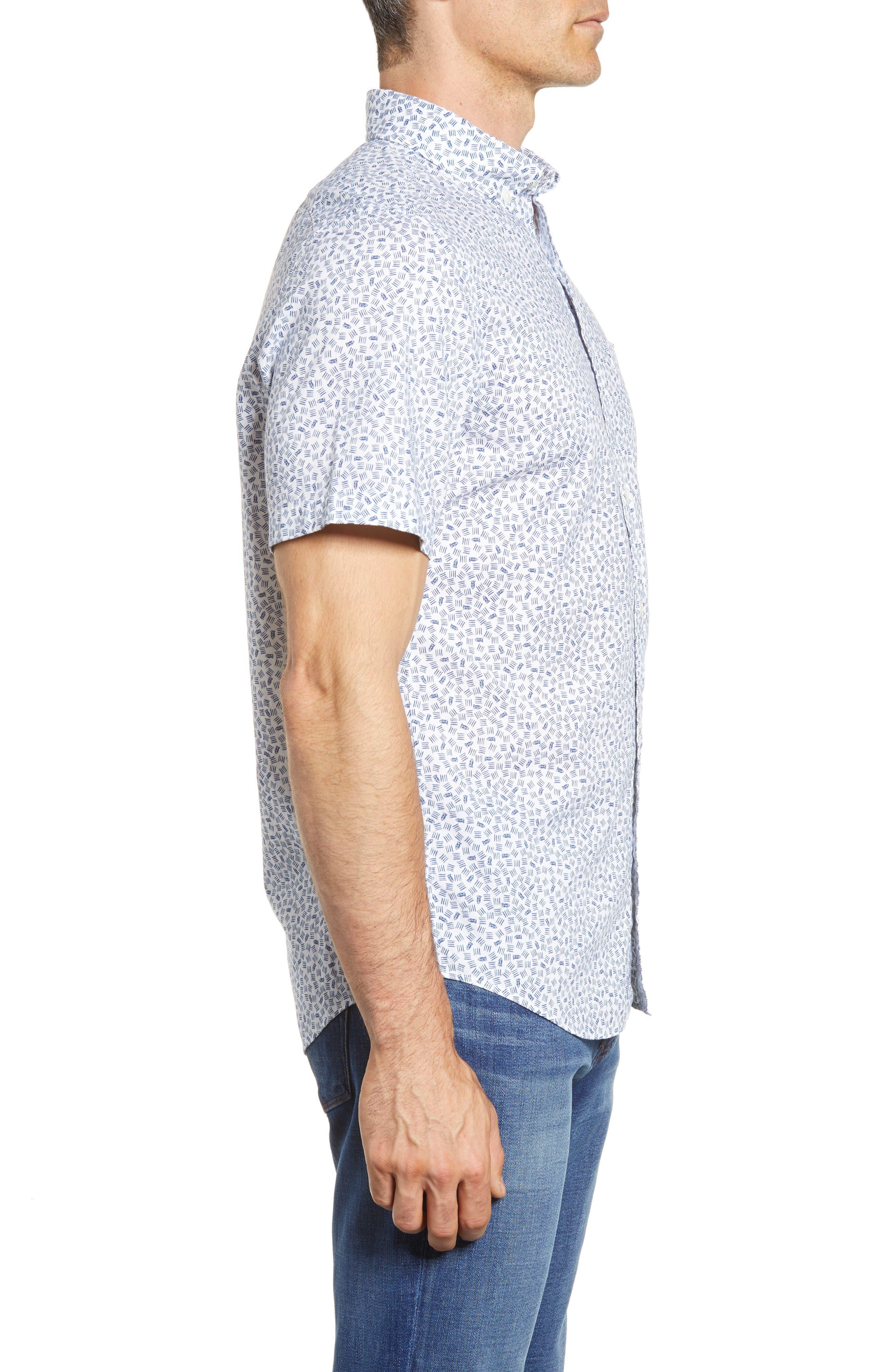 Fish Dash Tucker Slim Fit Sport Shirt,                             Alternate thumbnail 4, color,                             White Cap