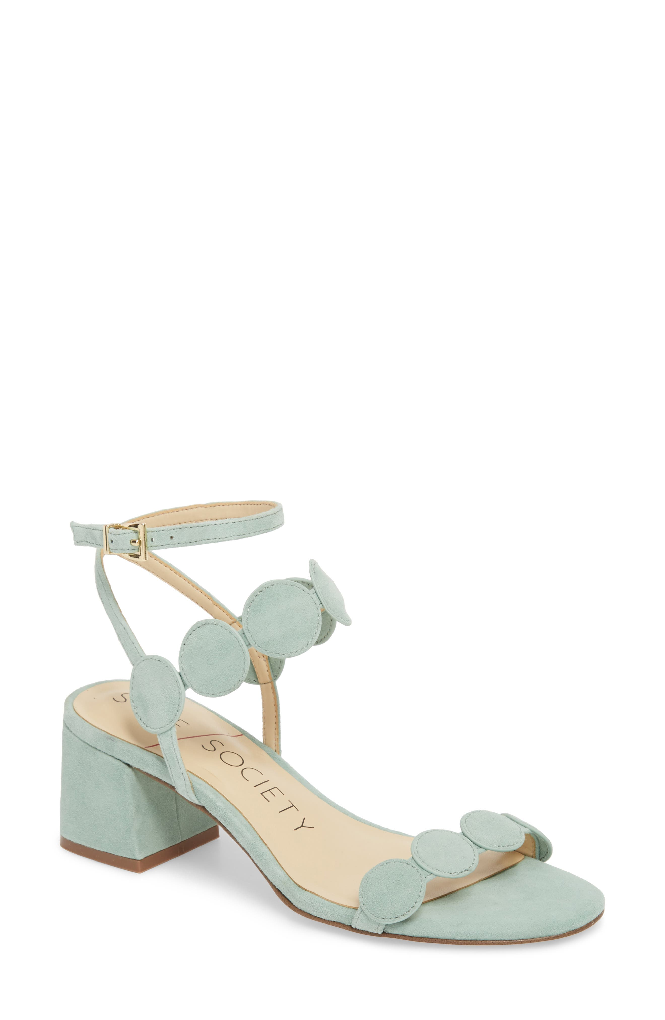 Shea Block Heel Sandal,                             Main thumbnail 1, color,                             Sage Green Suede