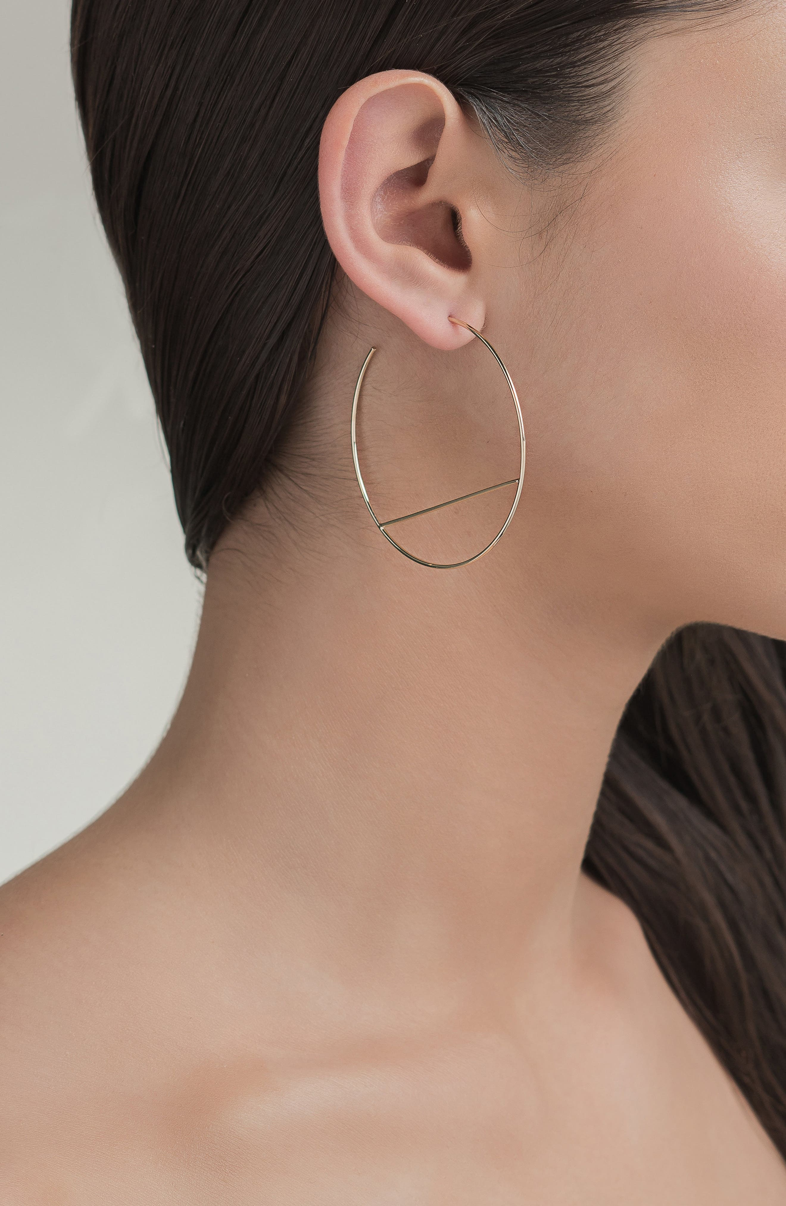 Wire Eclipse Hoop Earrings,                             Alternate thumbnail 2, color,                             Yellow Gold